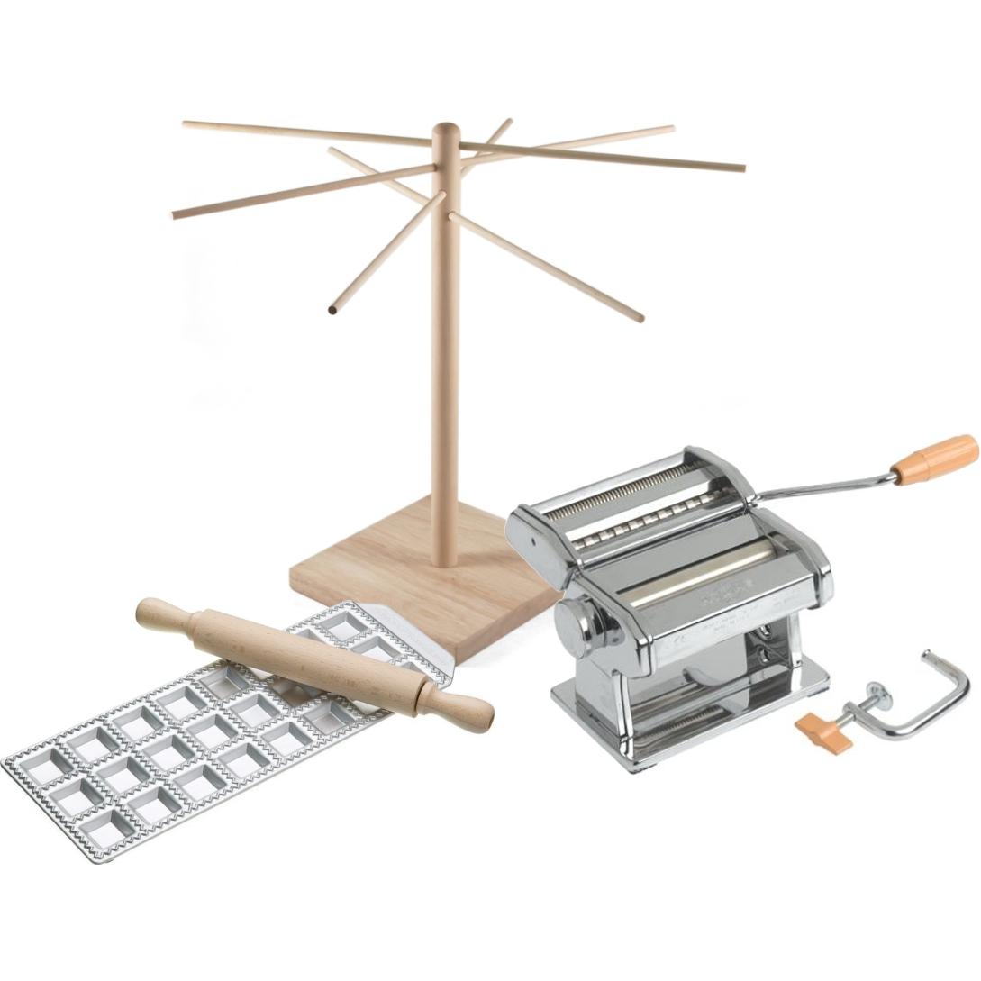 Atlas 150 Wellness Italian Pasta Machine with 24 Square Ravioli Maker, Rolling Pin, and Wooden Pasta Drying Rack