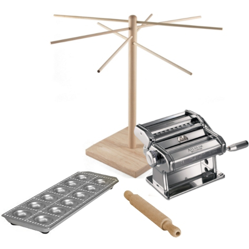 Atlas Stainless Steel 5 Piece Pasta Machine Set with 12 Square Ravioli Mold, Rolling Pin, Pasta Bike, and Drying Rack