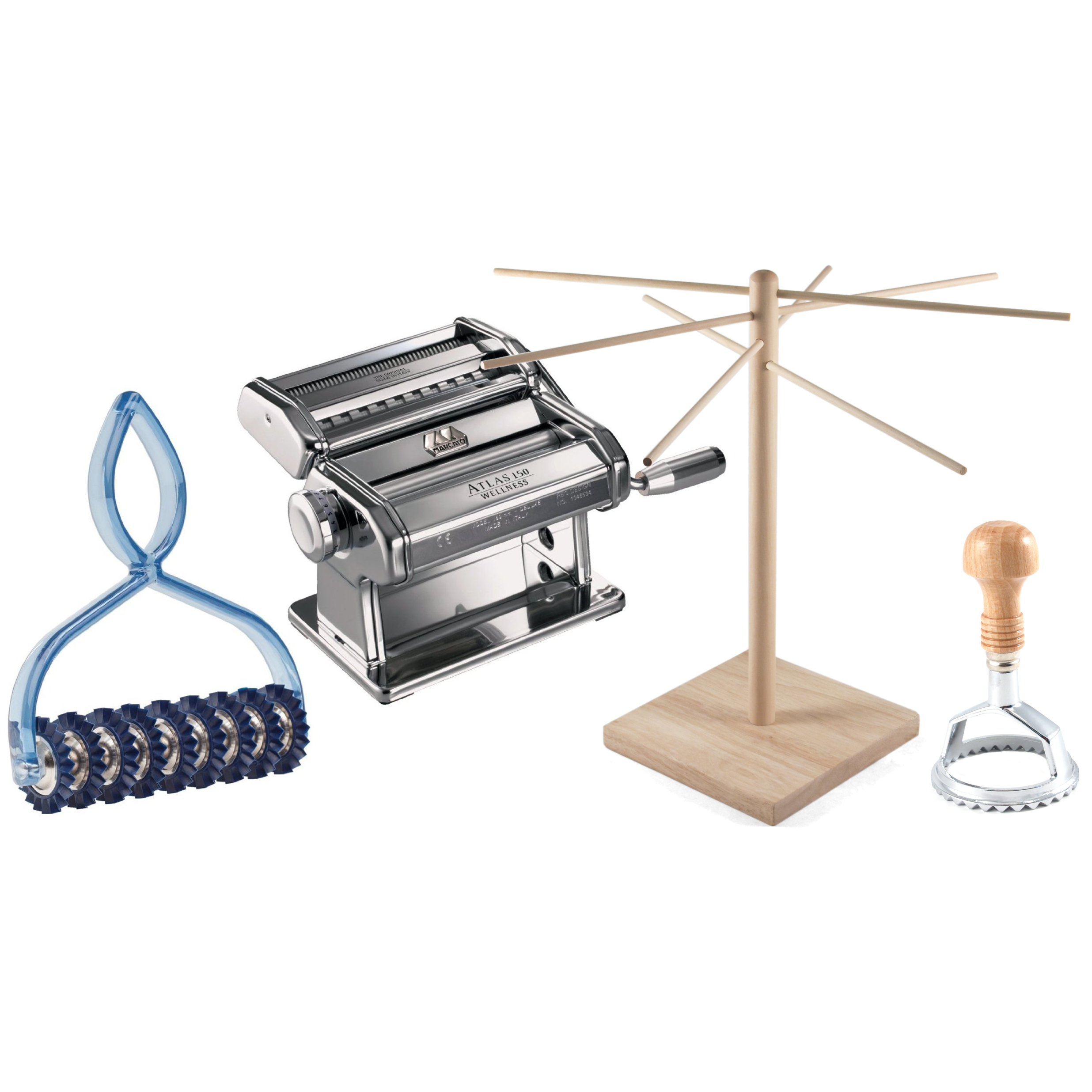 Atlas Stainless Steel 4 Piece Pasta Machine Set with Ravioli Stamp, Pasta Bike, and Drying Rack