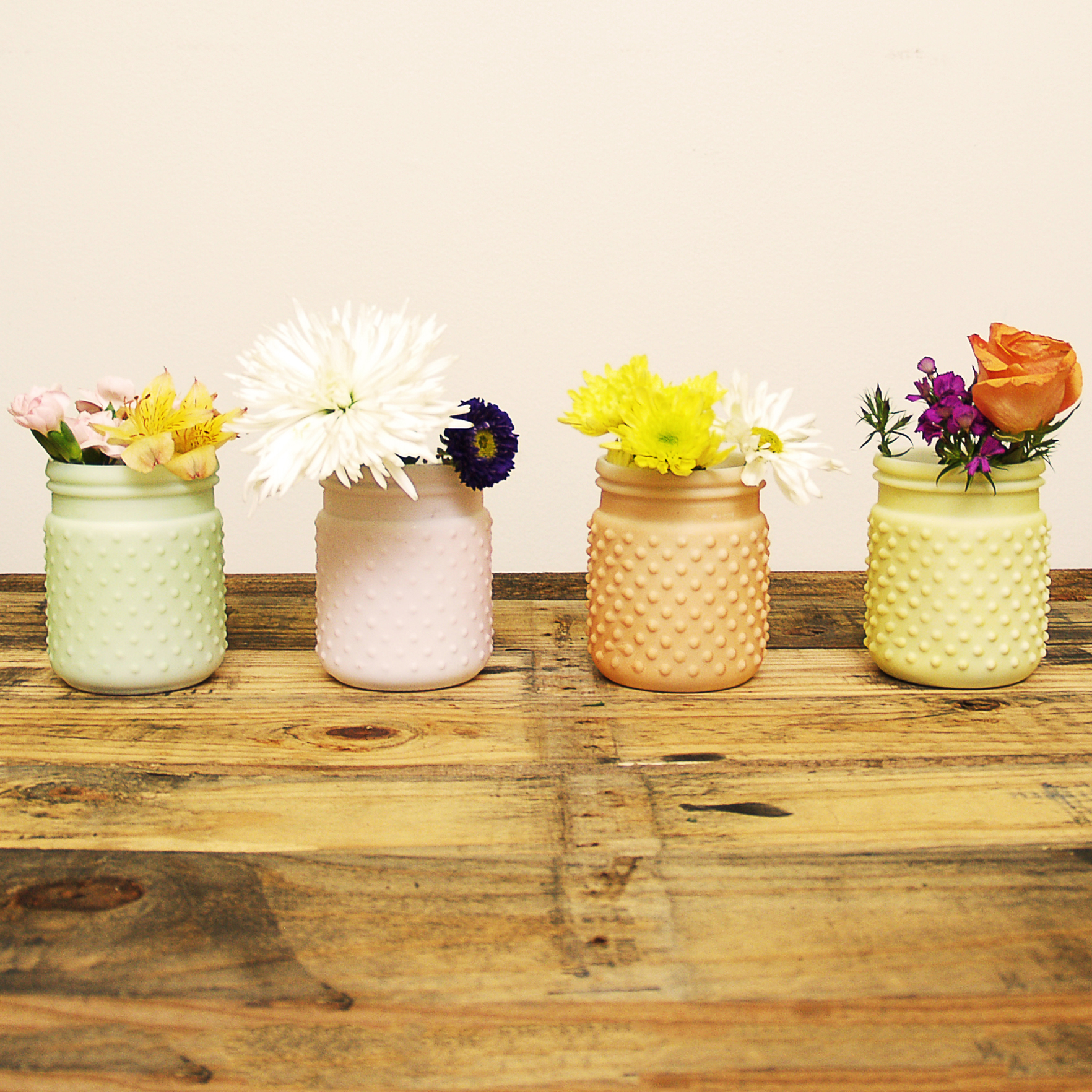 Sunday Morning Home Small Mixed Pastel Glass Hobnail Jar, Set of 4