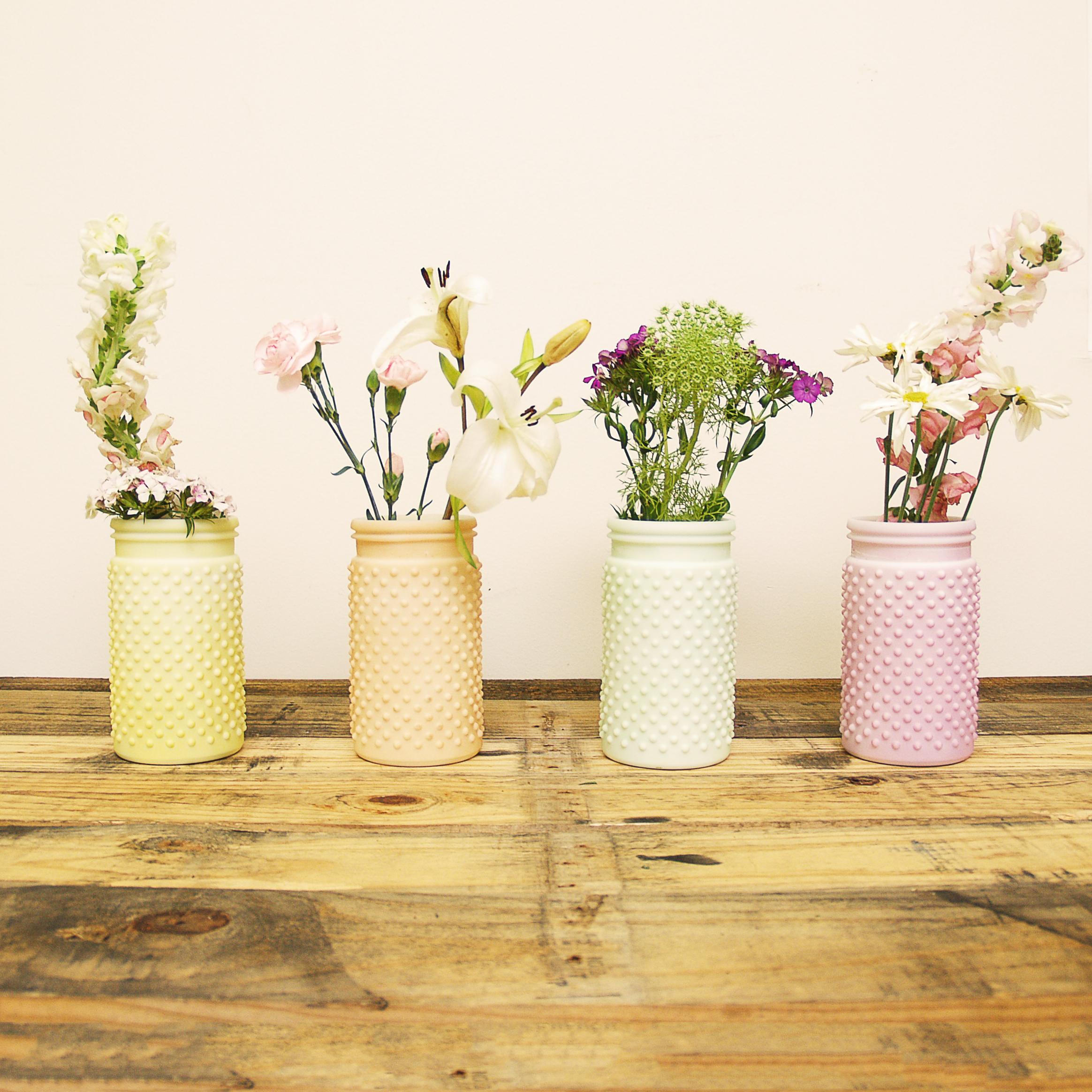 Sunday Morning Home Large Mixed Pastel Glass Hobnail Jar, Set of 4