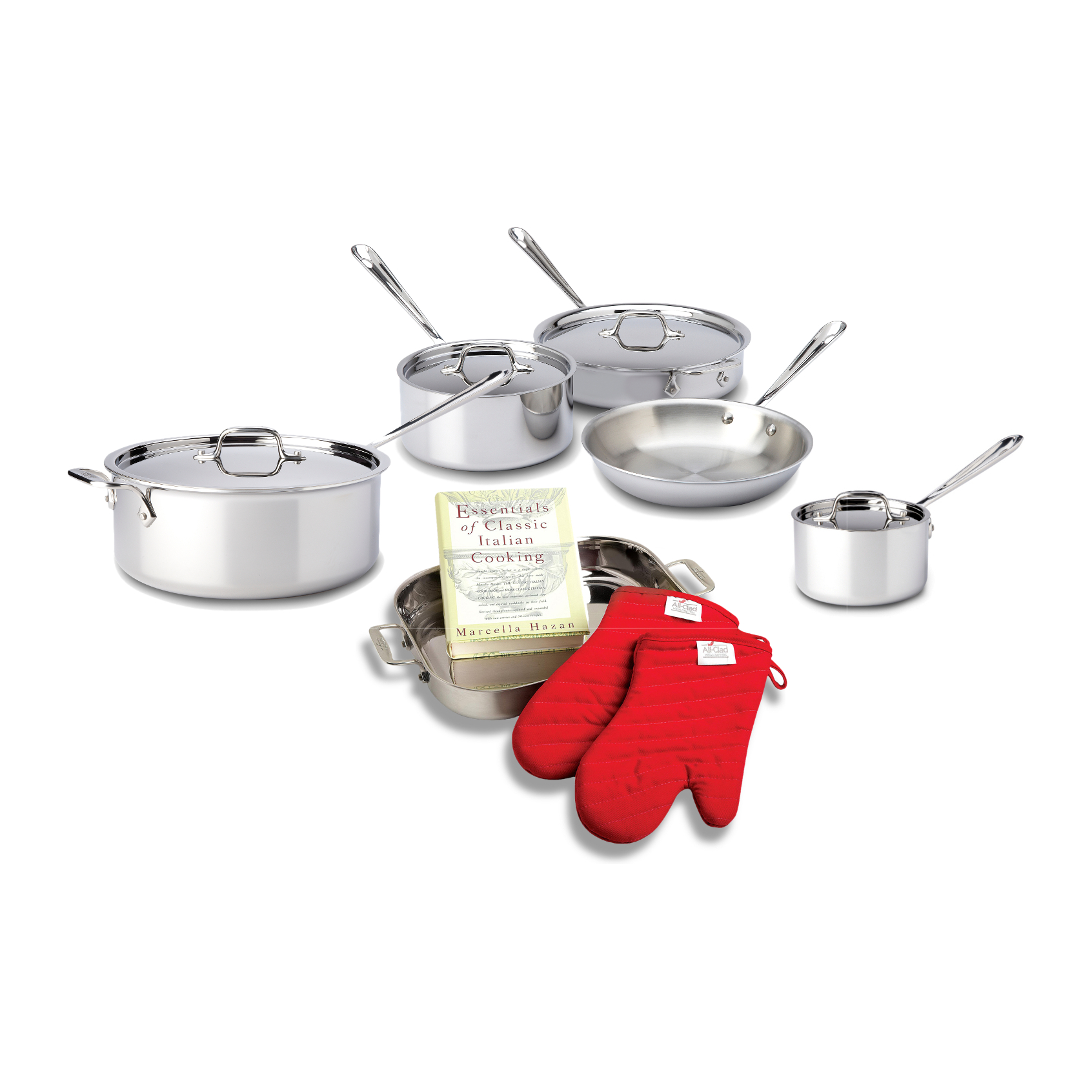 All-Clad 18/10 Stainless Steel 10 Piece Cookware Set with Cookbook and Oven Mitts