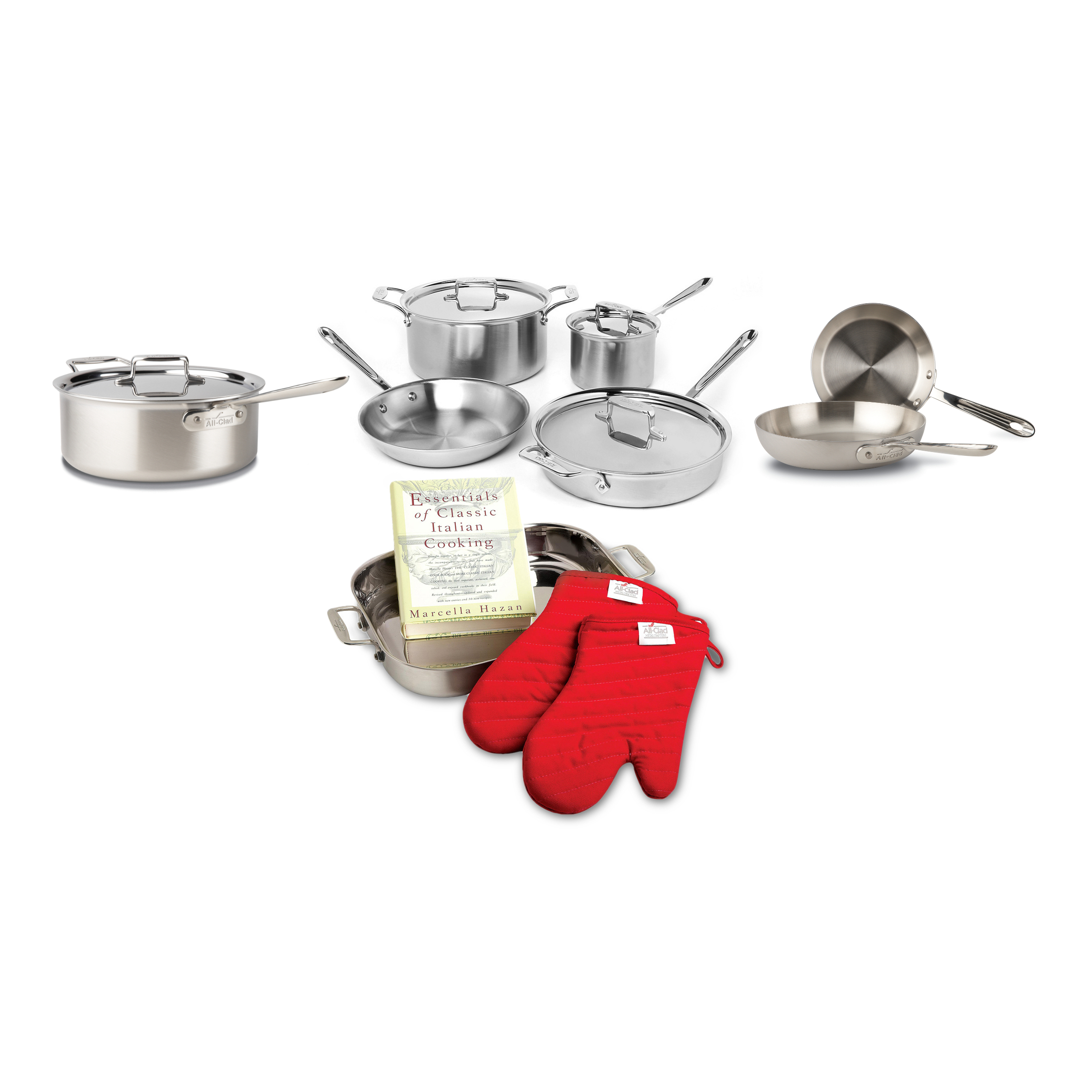 All-Clad D5 Brushed 18/10 Stainless Steel 12 Piece Cookware Set with Cookbook and Oven Mitts