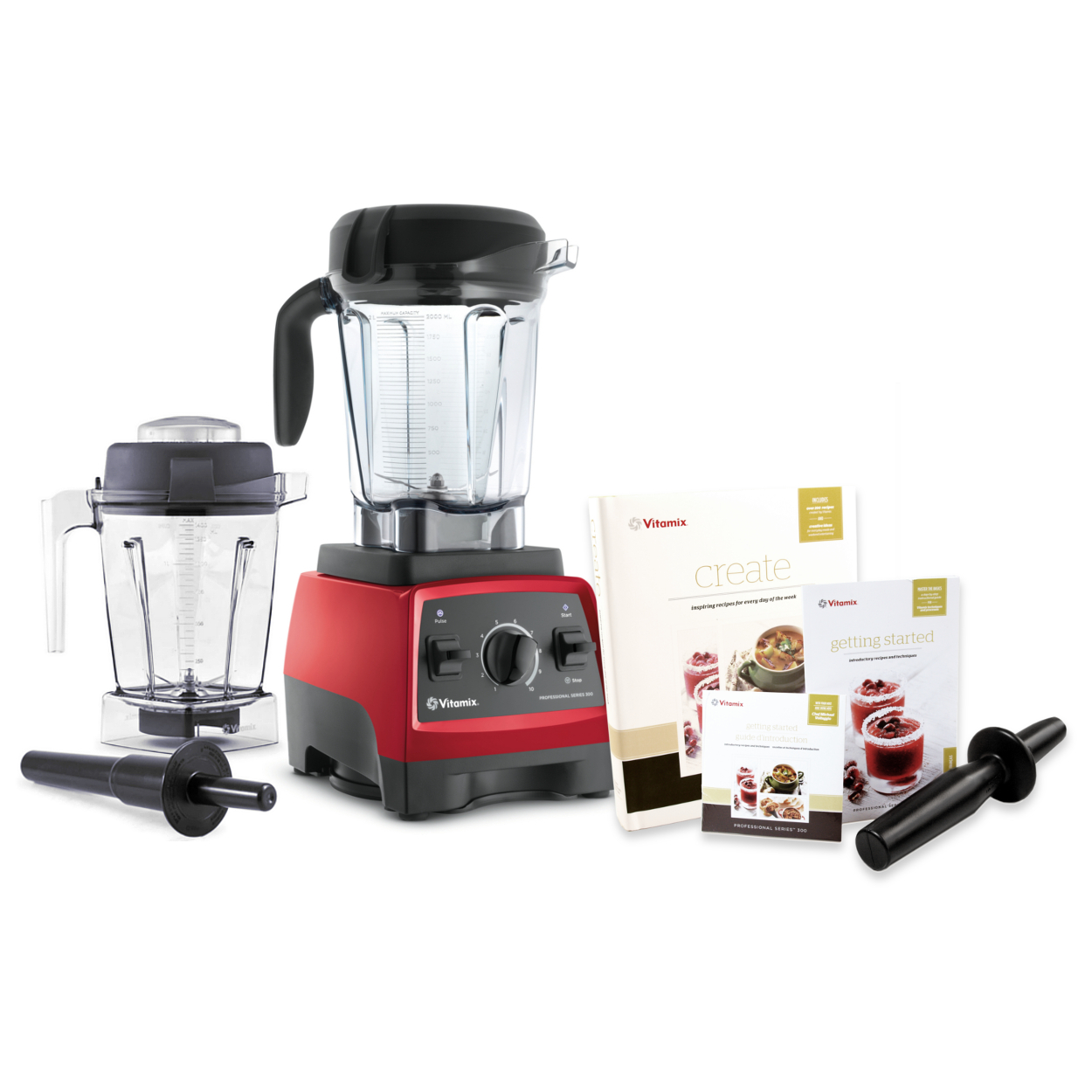 Vitamix CIA Professional Series 300 Ruby Red Blender With 64 Ounce Wet Container and 48 Ounce Wet Container
