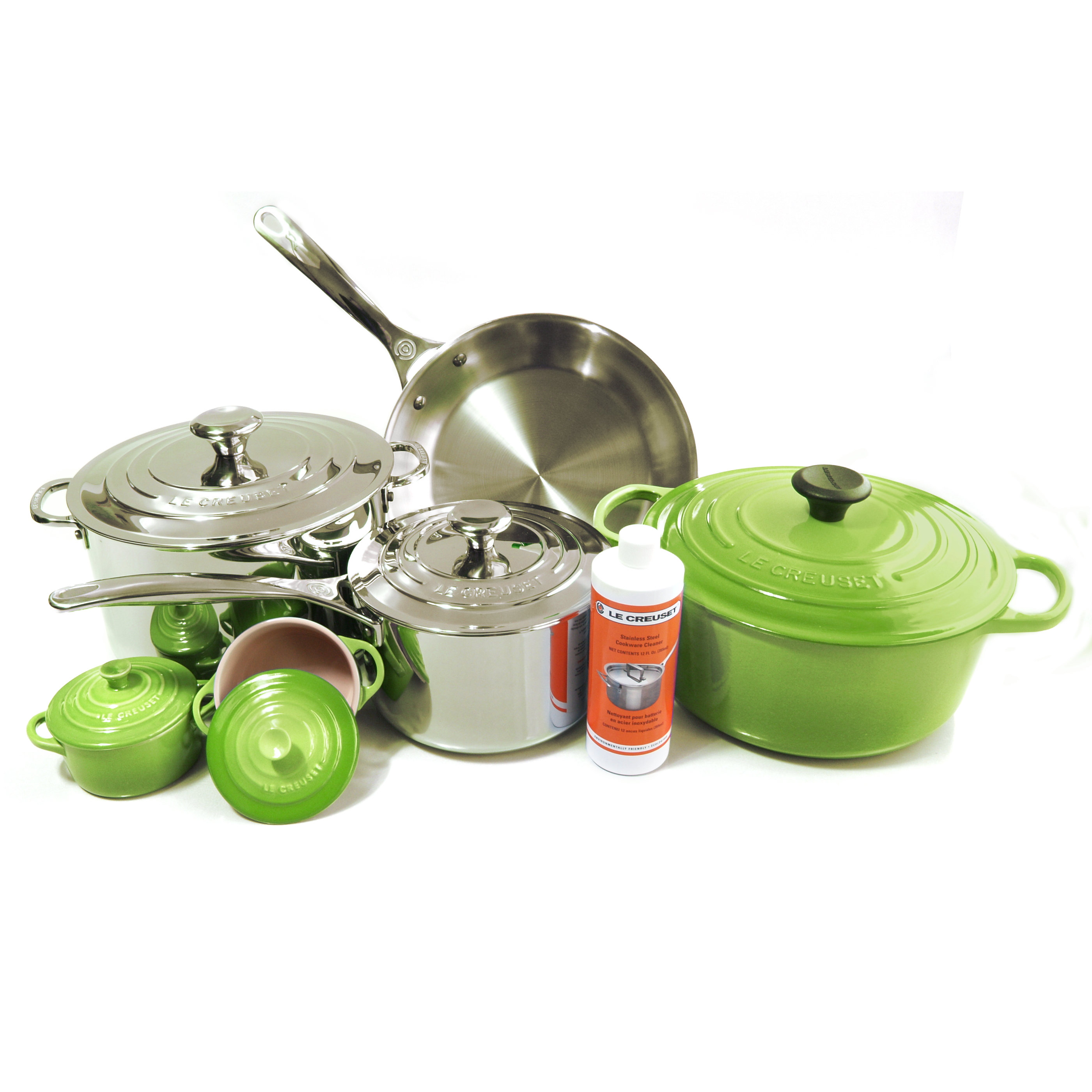 Le Creuset 11 Piece Palm Enameled Cast Iron & Tri-Ply Stainless Steel Cookware Set