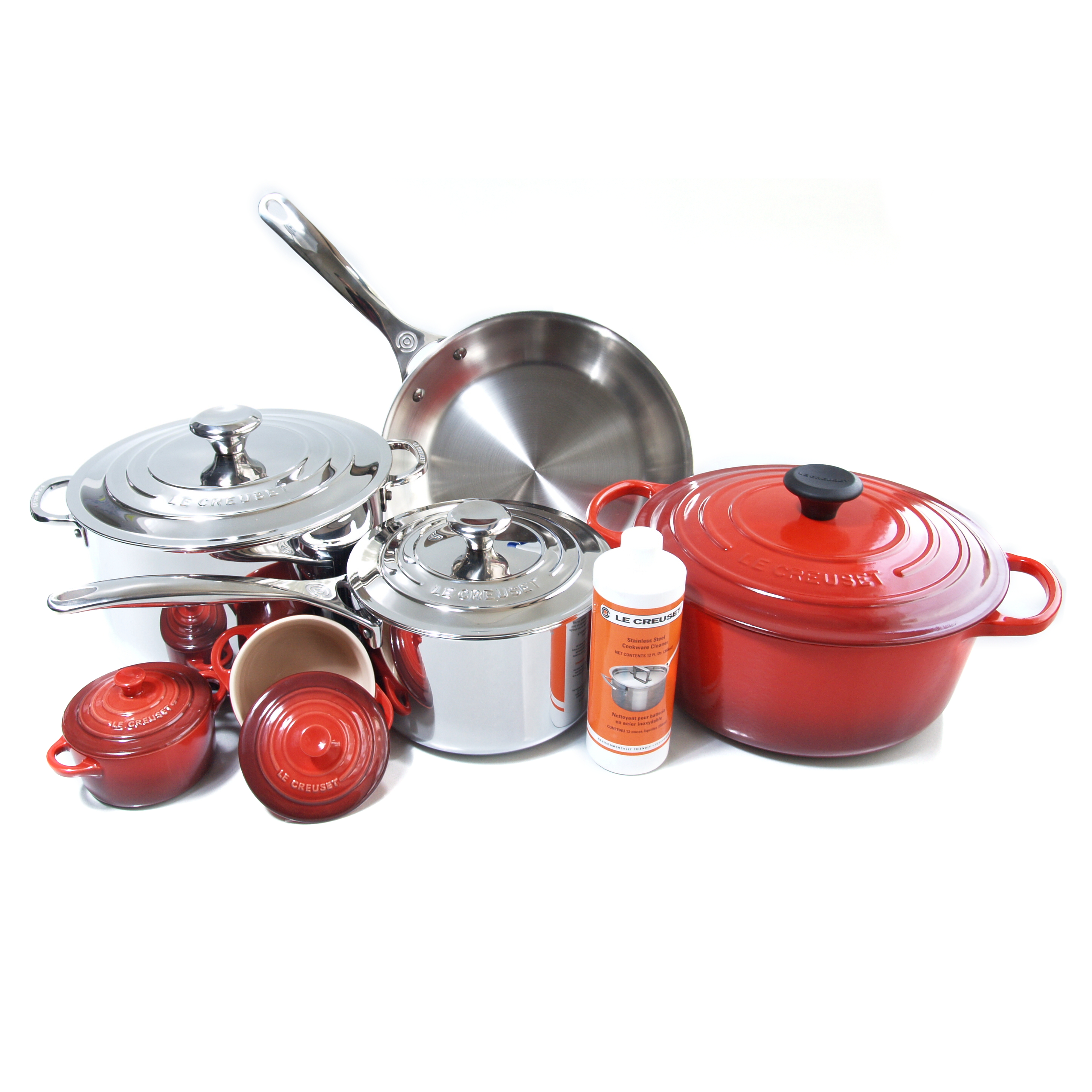 Le Creuset 11 Piece Cherry Enameled Cast Iron & Tri-Ply Stainless Steel Cookware Set