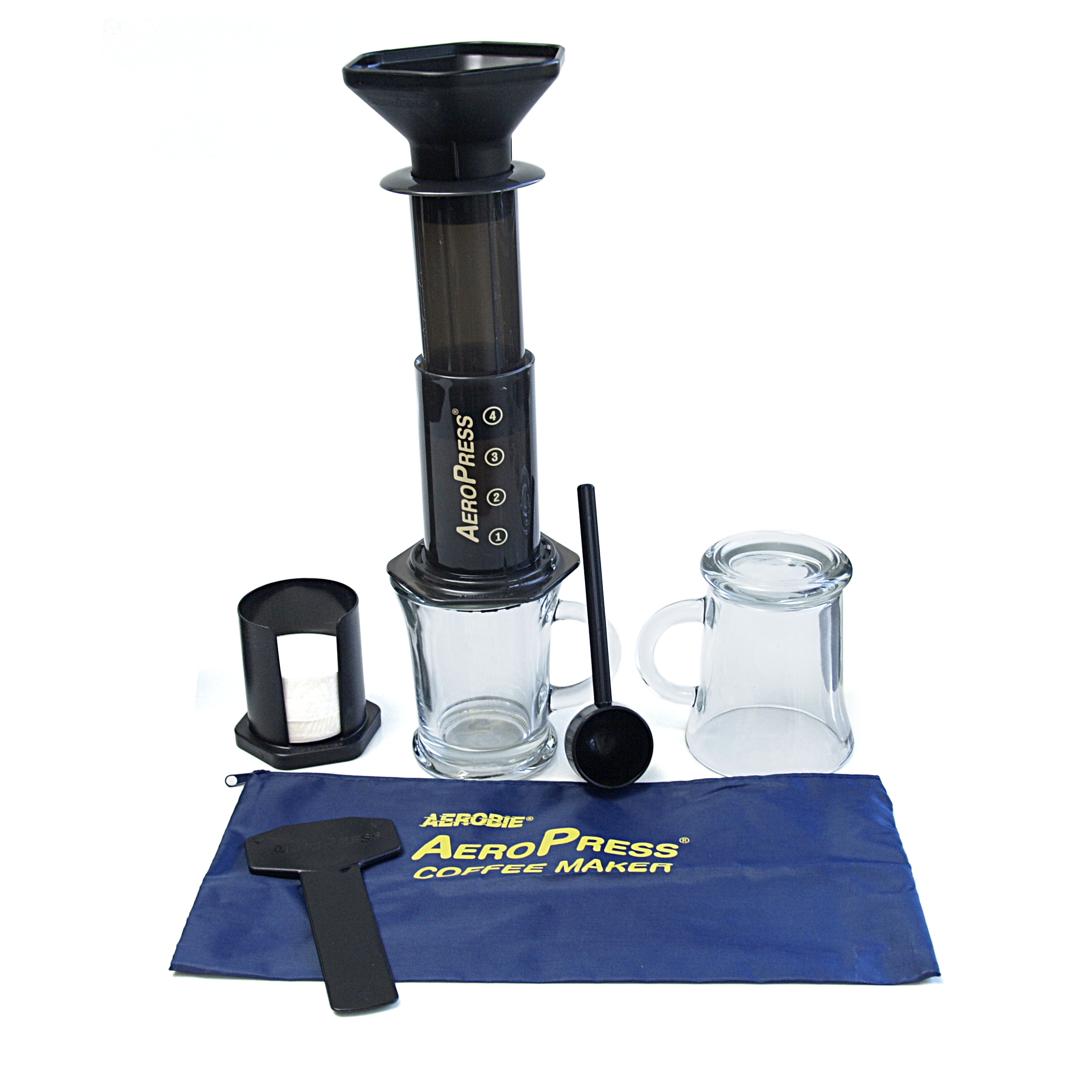 Aerobie AeroPress Coffee Maker with Tote Bag and 2 Cafe Mocha Mugs