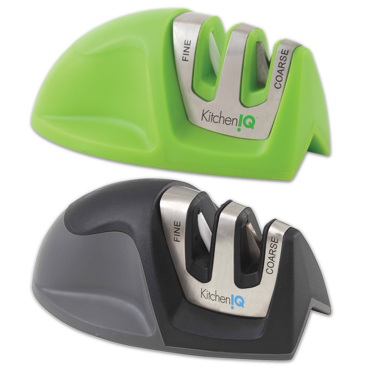 Kitchen IQ Edge Grip 2-Stage Green and Black Knife Sharpener, Set of 2