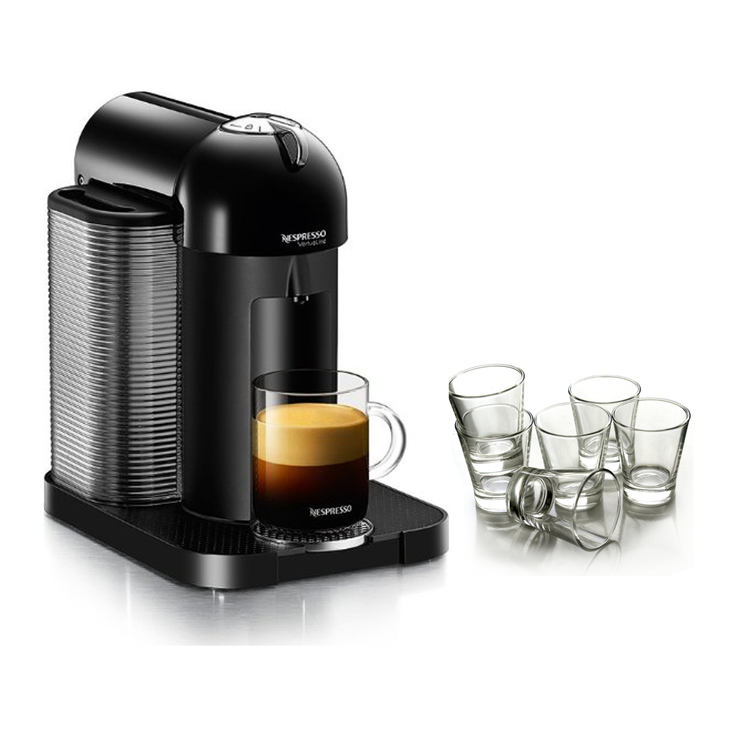 Nespresso VertuoLine Black Coffee and Espresso Maker with Free Set of 6 Espresso Glasses