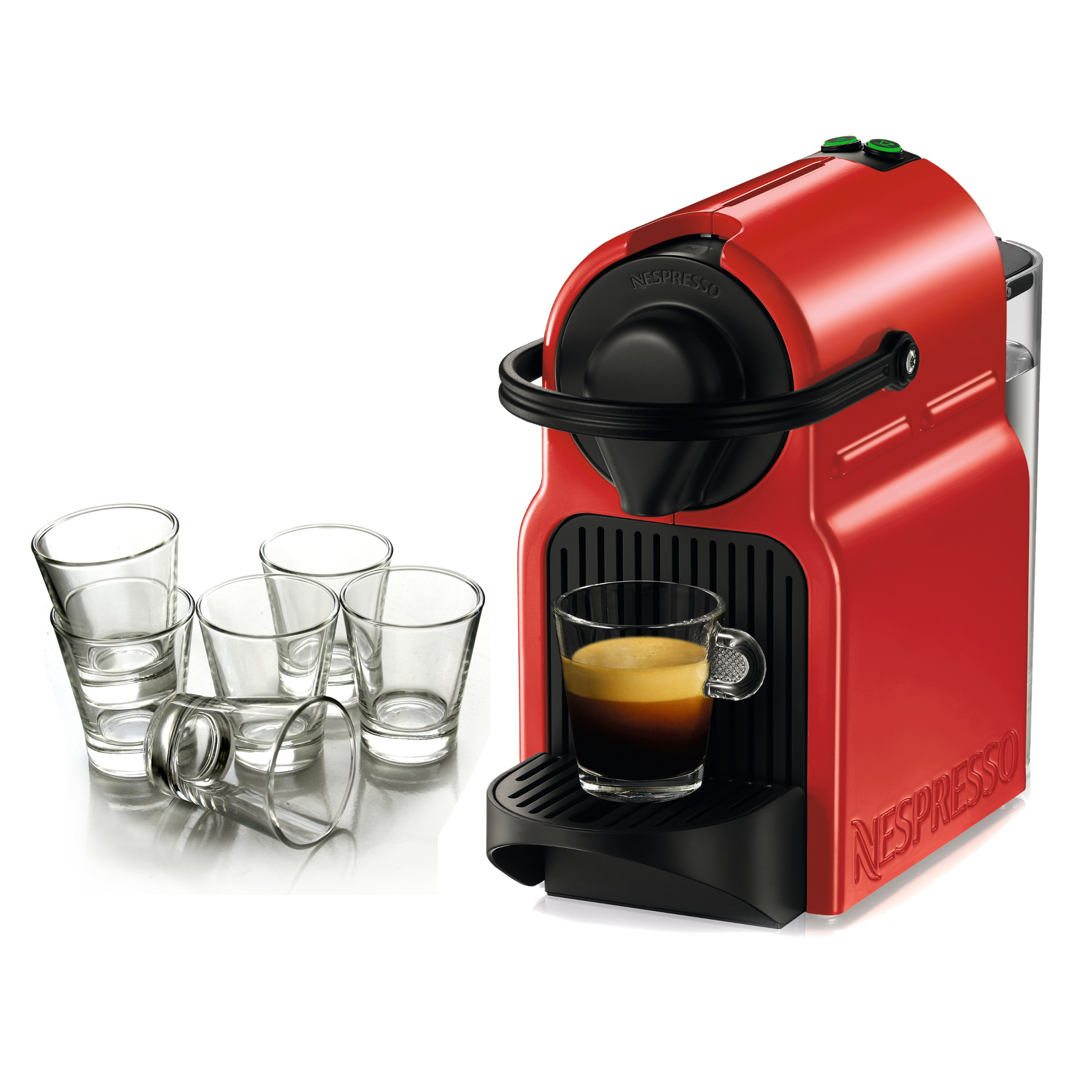 Nespresso Original Line Inissia Red Espresso Maker with Free Set of 6 Espresso Glasses
