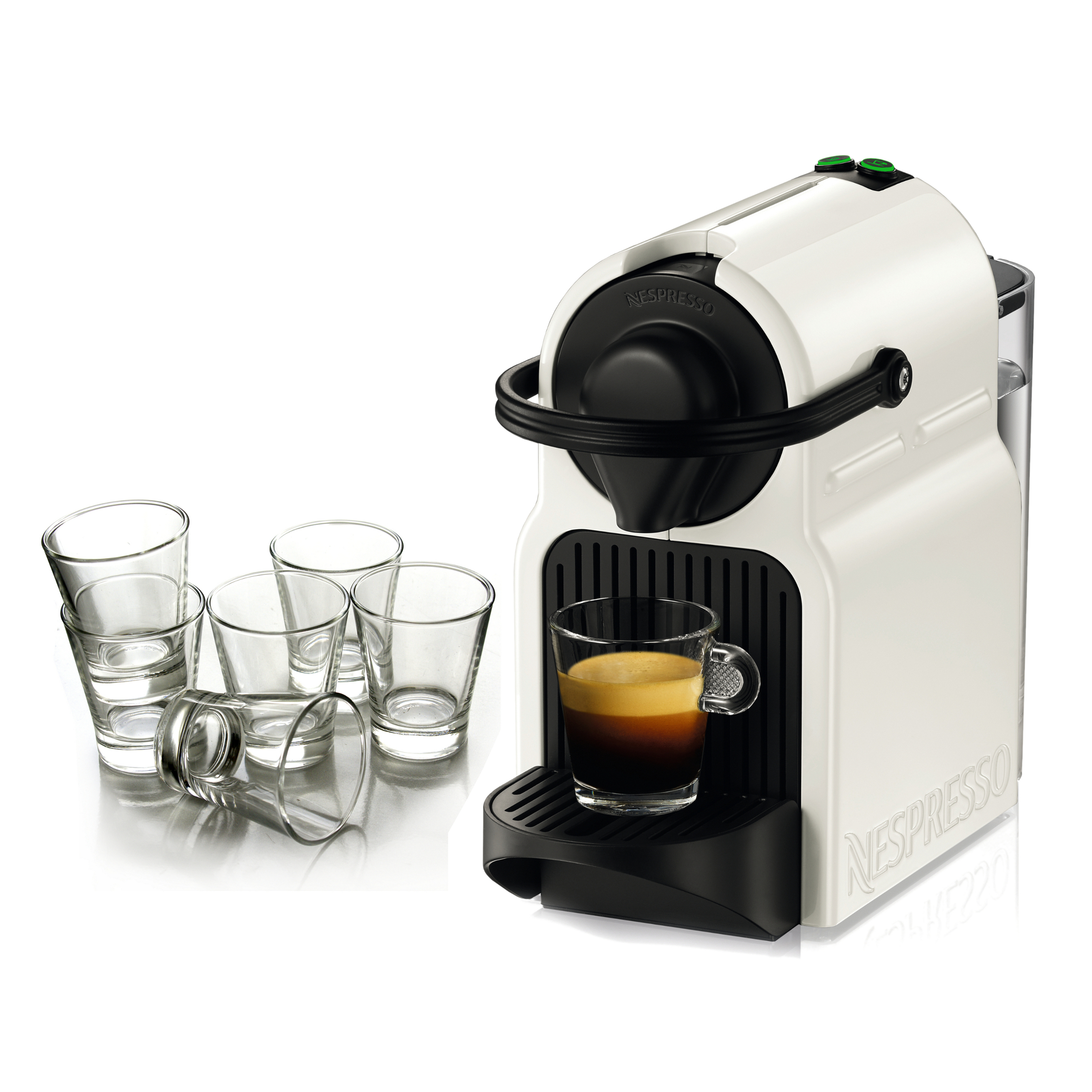 Nespresso Original Line Inissia White Espresso Maker with Free Set of 6 Espresso Glasses