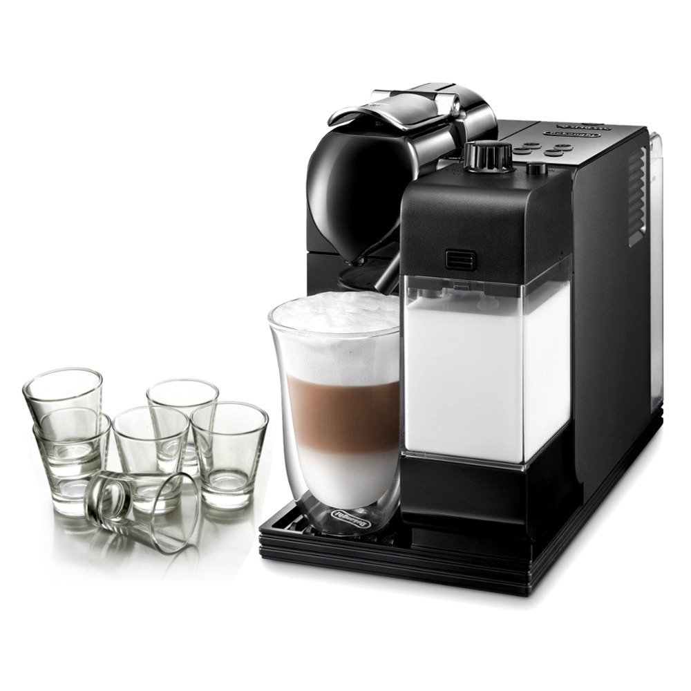 Delonghi Black Lattissima Plus Capsule Espresso and Cappuccino Machine with Free Set of 6 Espresso Glasses