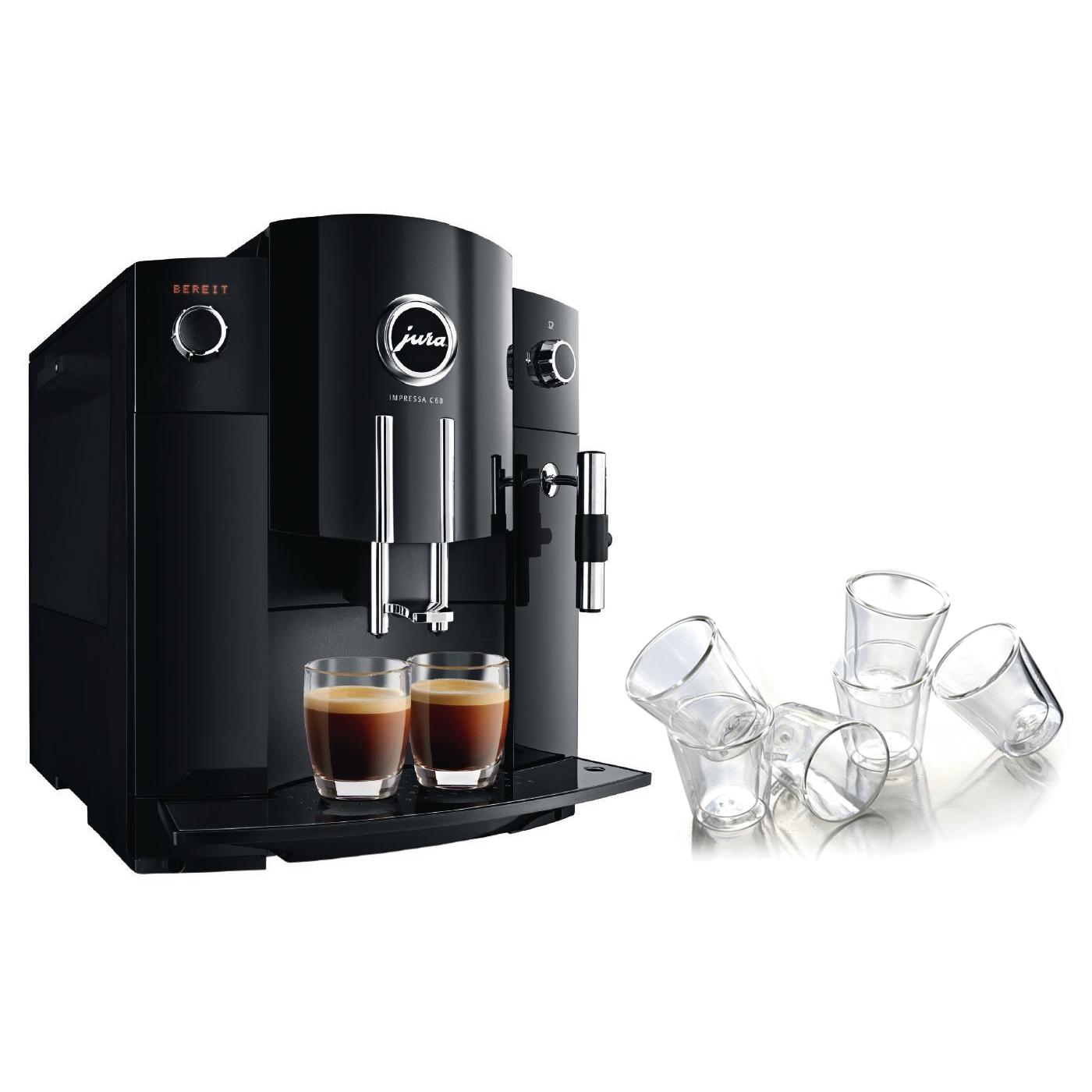 Jura Piano Black Impressa C60 Combination Espresso Machine with 6 Bodum Canteen Double Wall Espresso Glasses