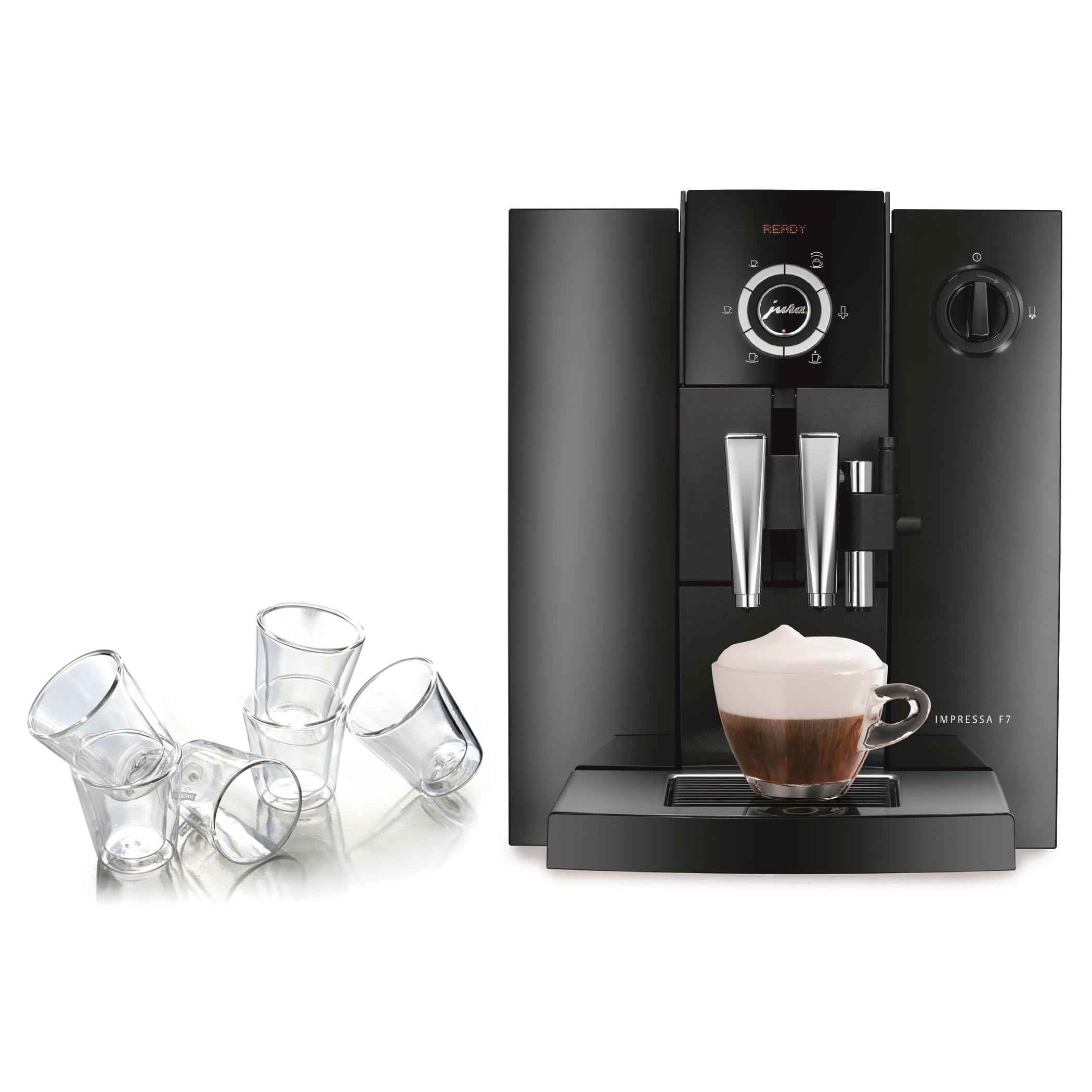 Jura Piano Black Impressa F7 Combination Espresso Machine with 6 Bodum Canteen Double Wall Espresso Glasses