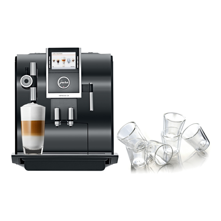 Jura Piano Black Impressa Z9 One Touch TFT Combination Espresso Machine with 6 Bodum Canteen Double Wall Glasses