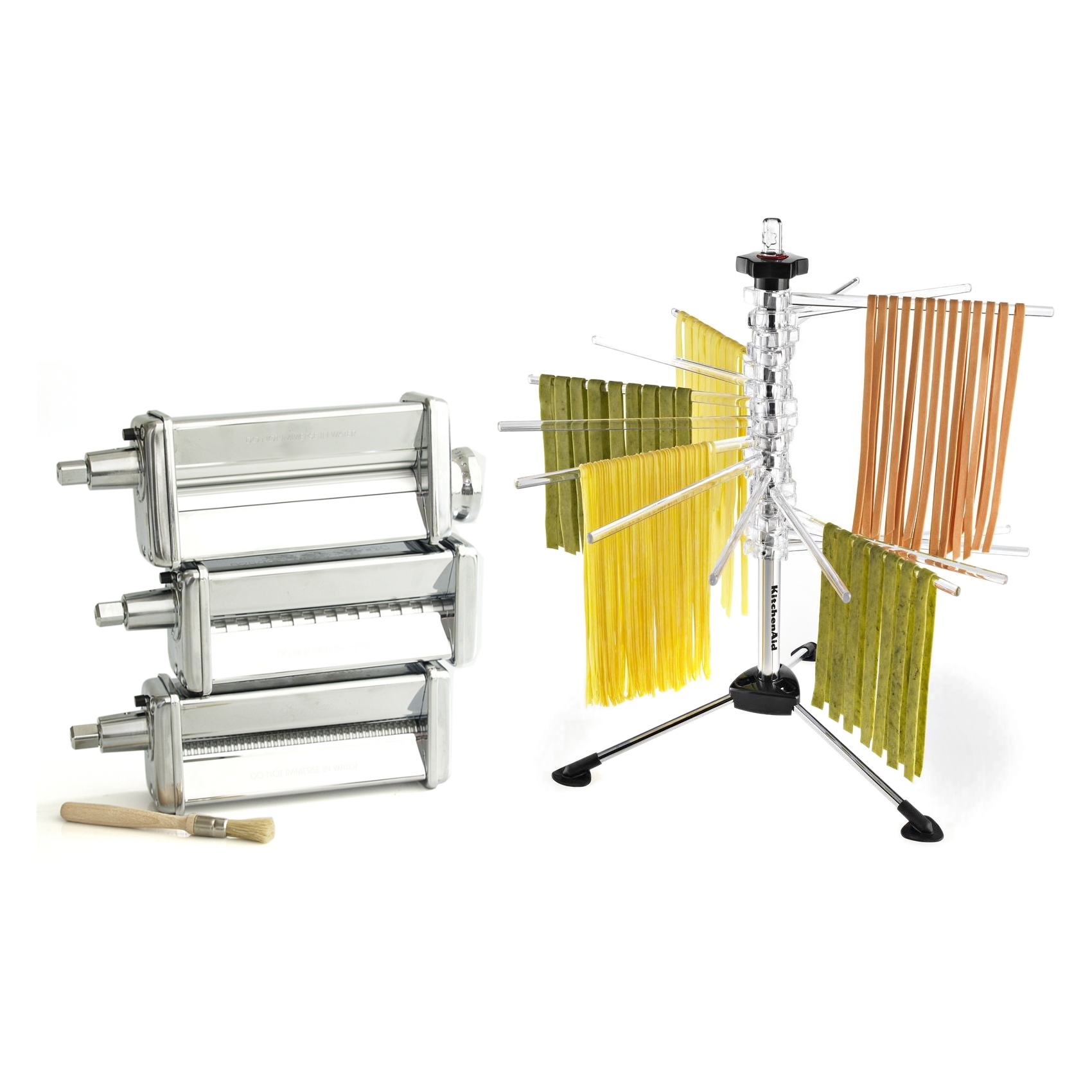 KitchenAid Stainless Steel Pasta Roller and Cutter Set with Pasta Drying Rack