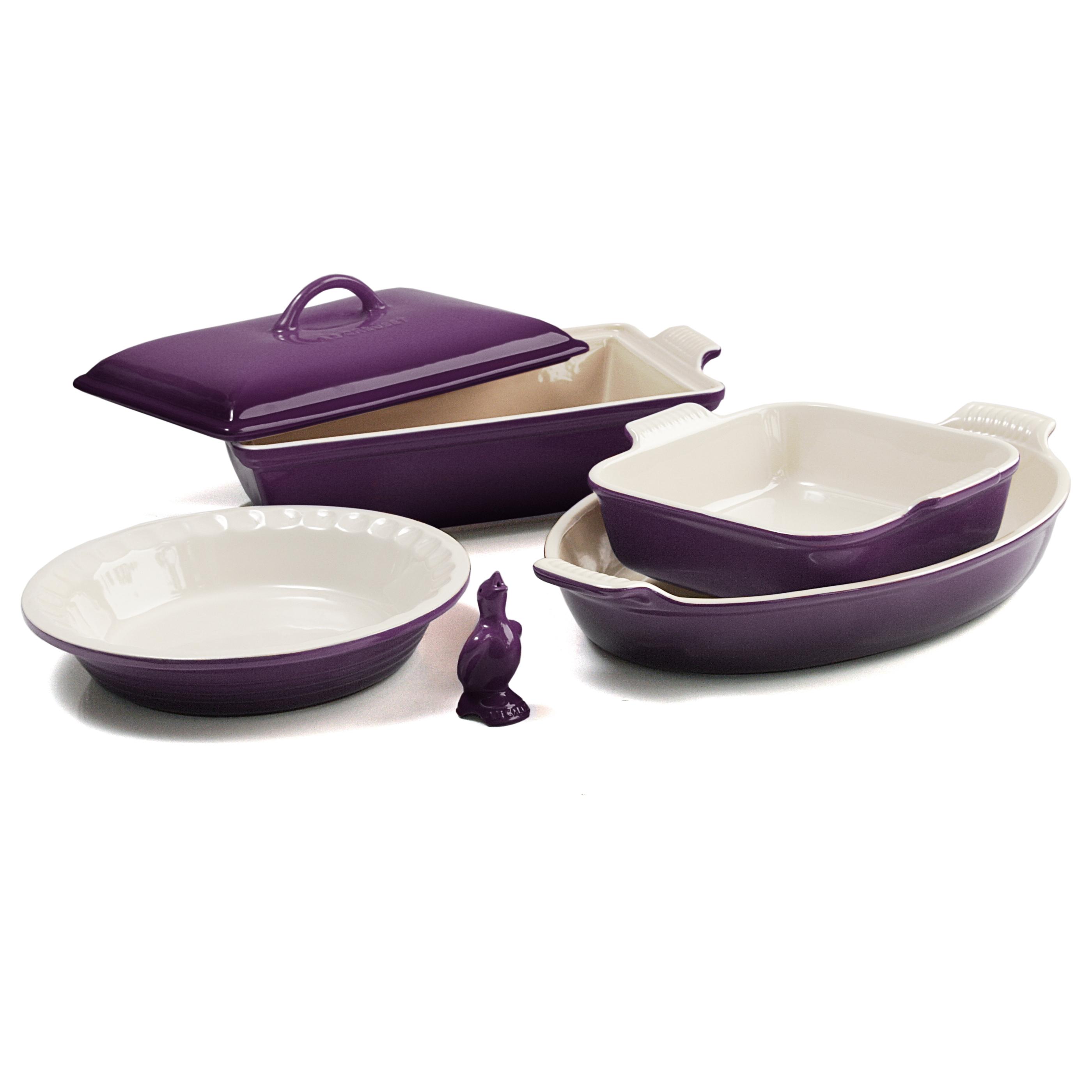 Le Creuset 6 Piece Cassis Stoneware Heritage Bakeware Set