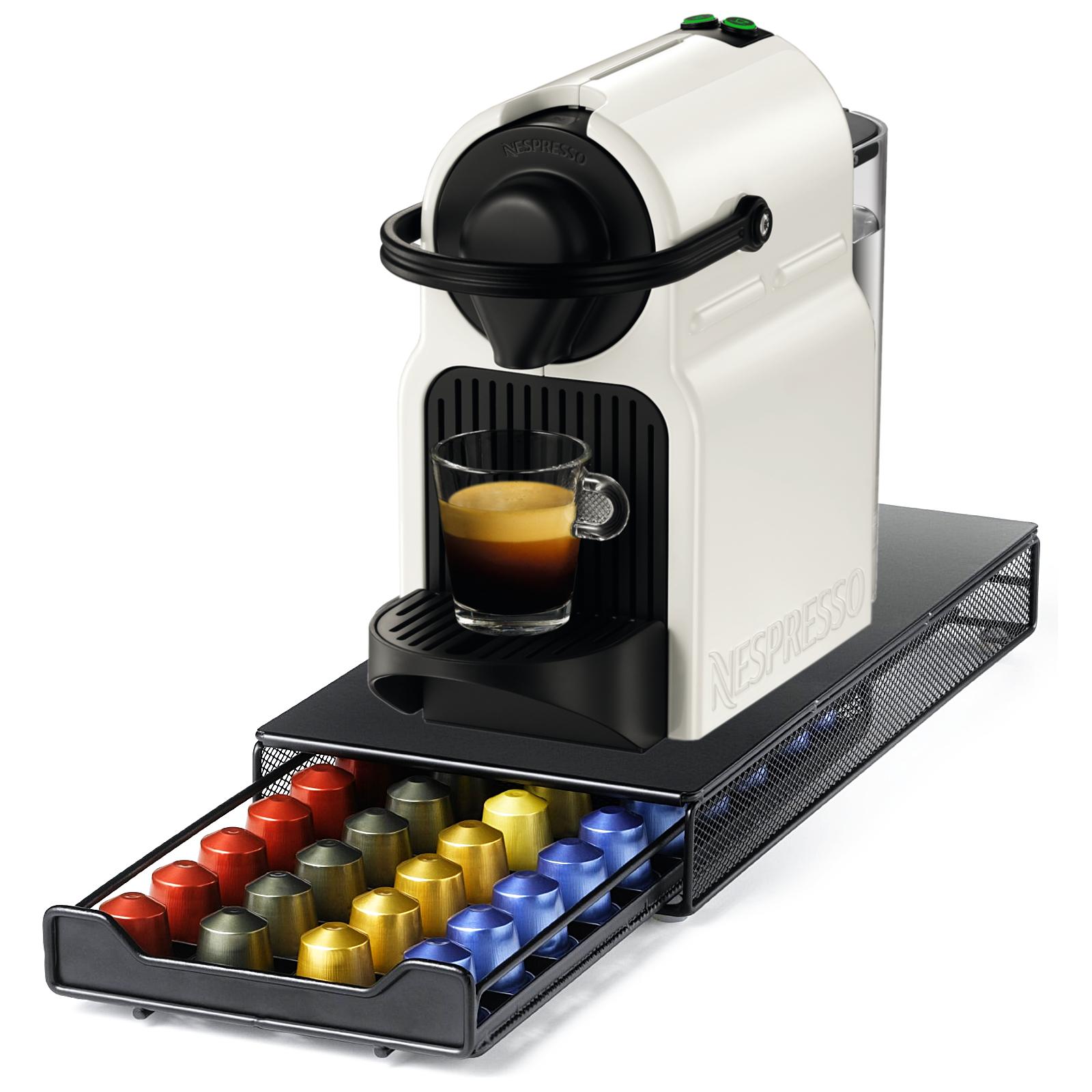Nespresso Original Line Inissia C40 White Espresso Maker with Bonus 40 Capsule Storage Drawer