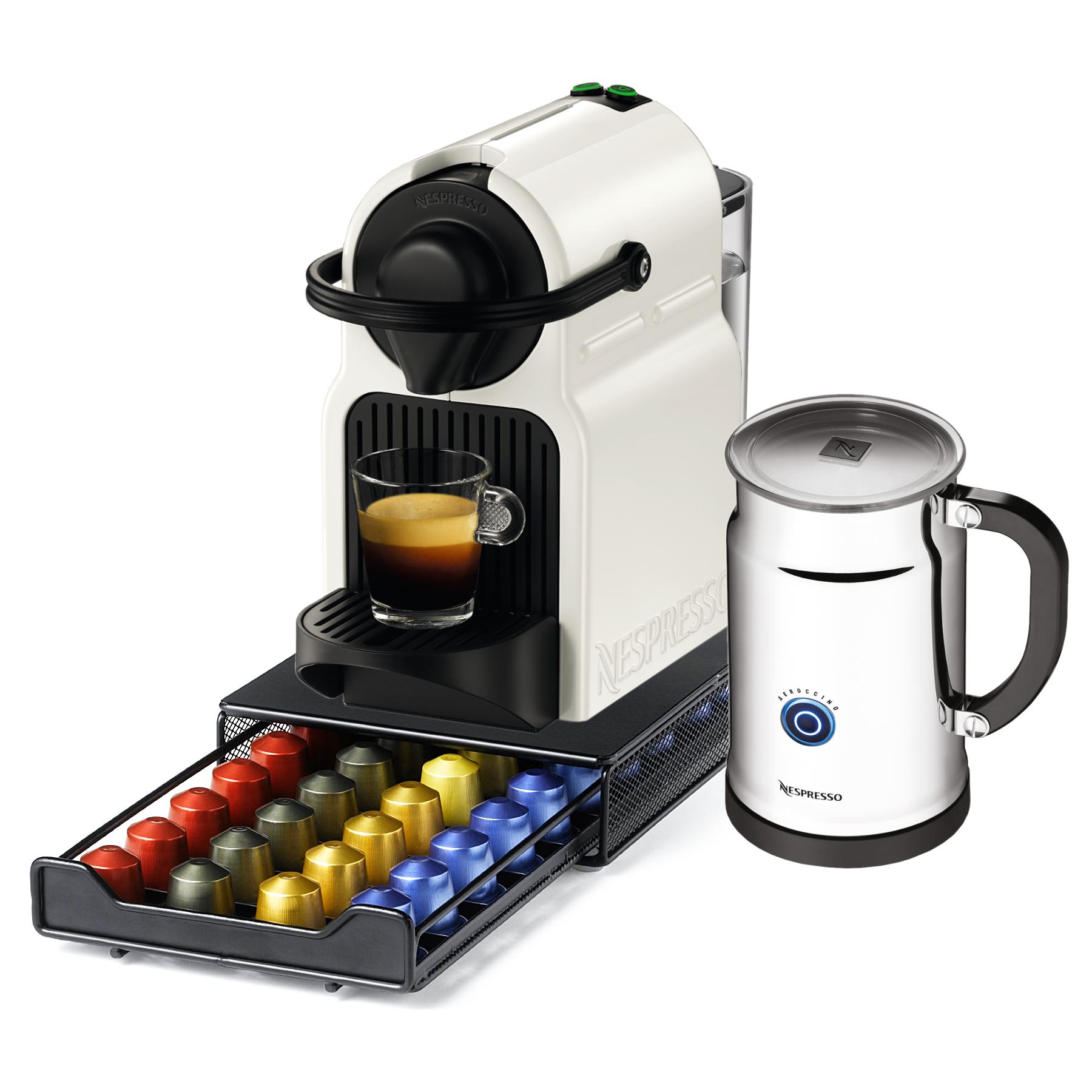 Nespresso Original Line Inissia C40 White Espresso Maker Bundle with Aeroccino Plus Milk Frother and Bonus 40 Capsule Storage Drawer