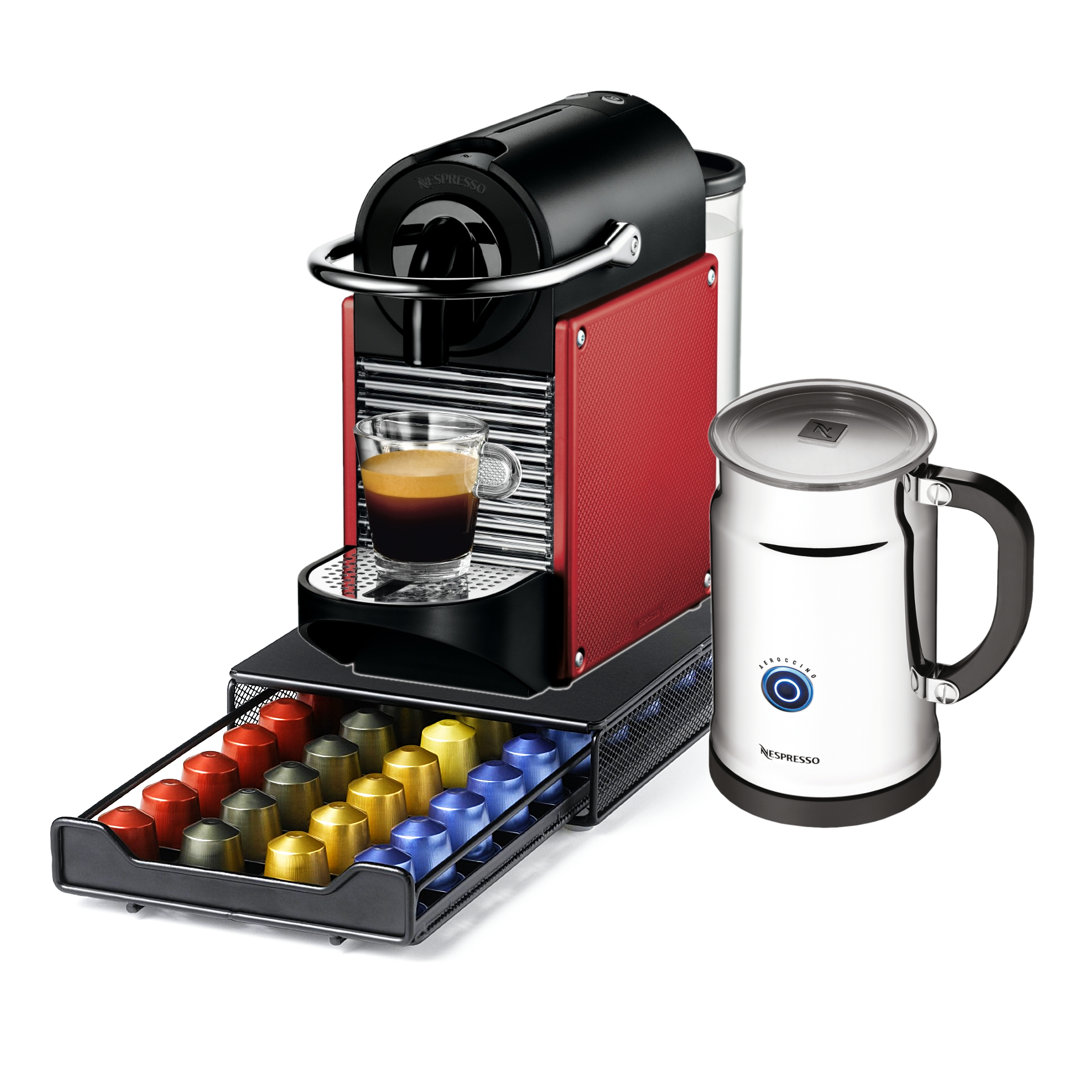 Nespresso Pixie D60 Carmine Red Espresso Machine With Aeroccino Plus Milk Frother and Bonus 40 Capsule Storage Drawer