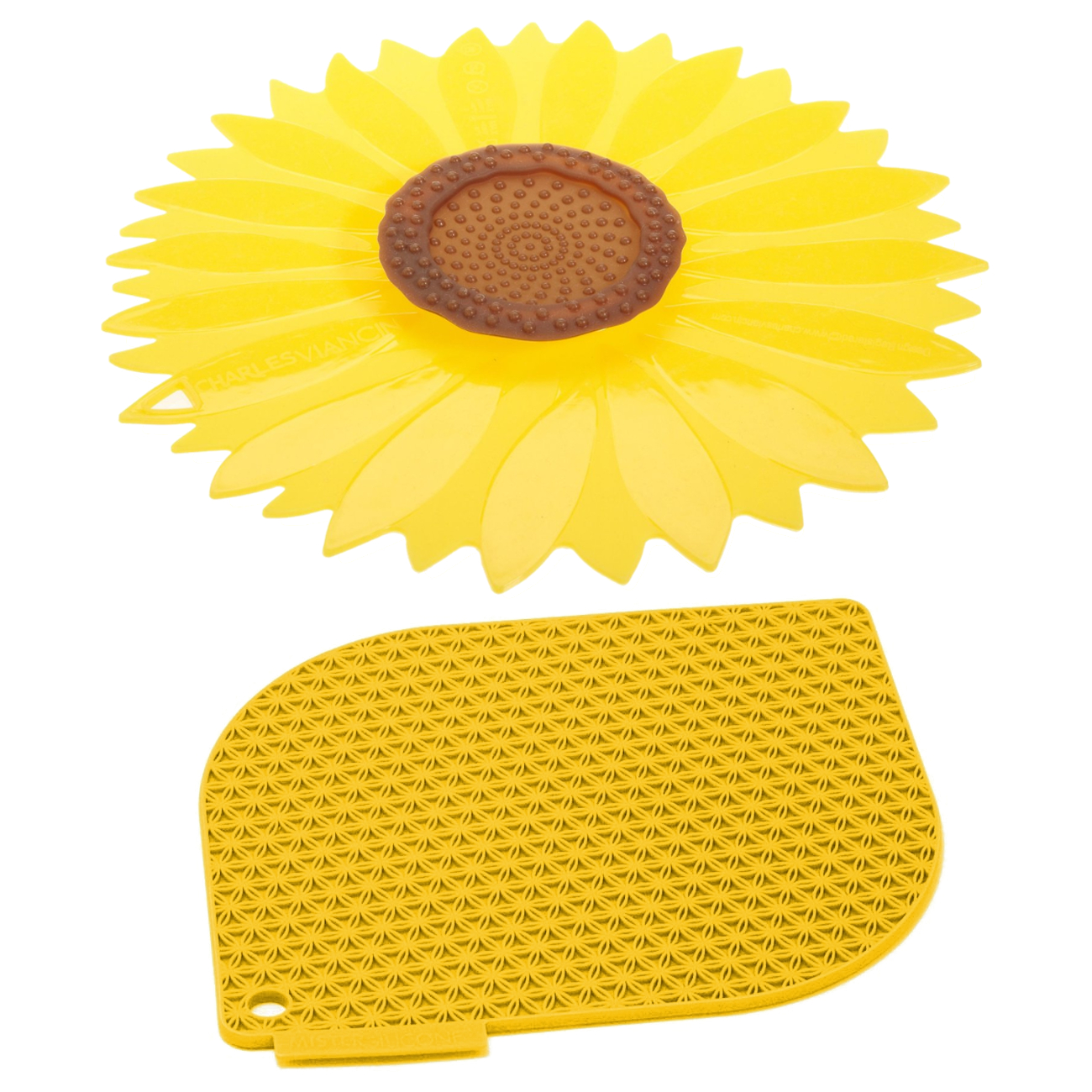 Charles Viancin Honeycomb Harvest Gold Silicone Pot Holder and 11.5 Inch Sunflower Lid Set