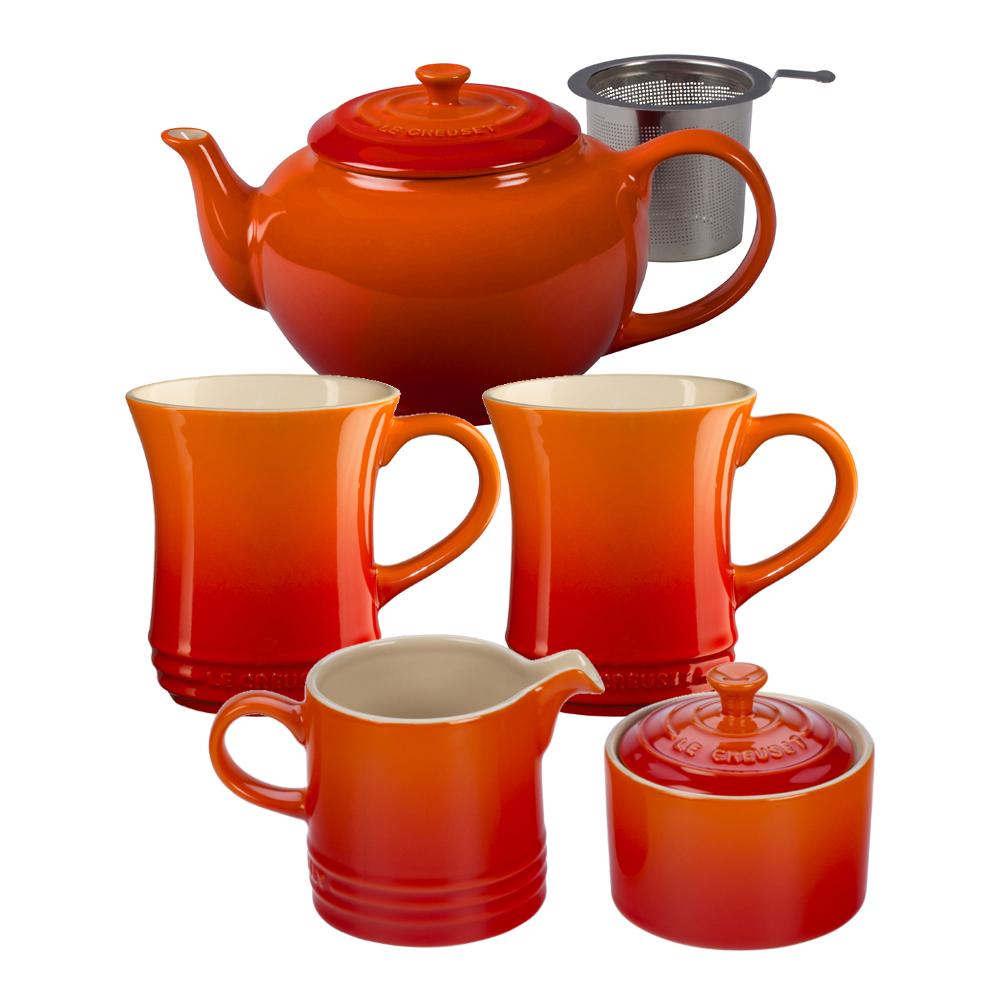 Le Creuset Flame Stoneware 5 Piece Teapot Service Set with Mugs and Cream & Sugar Set