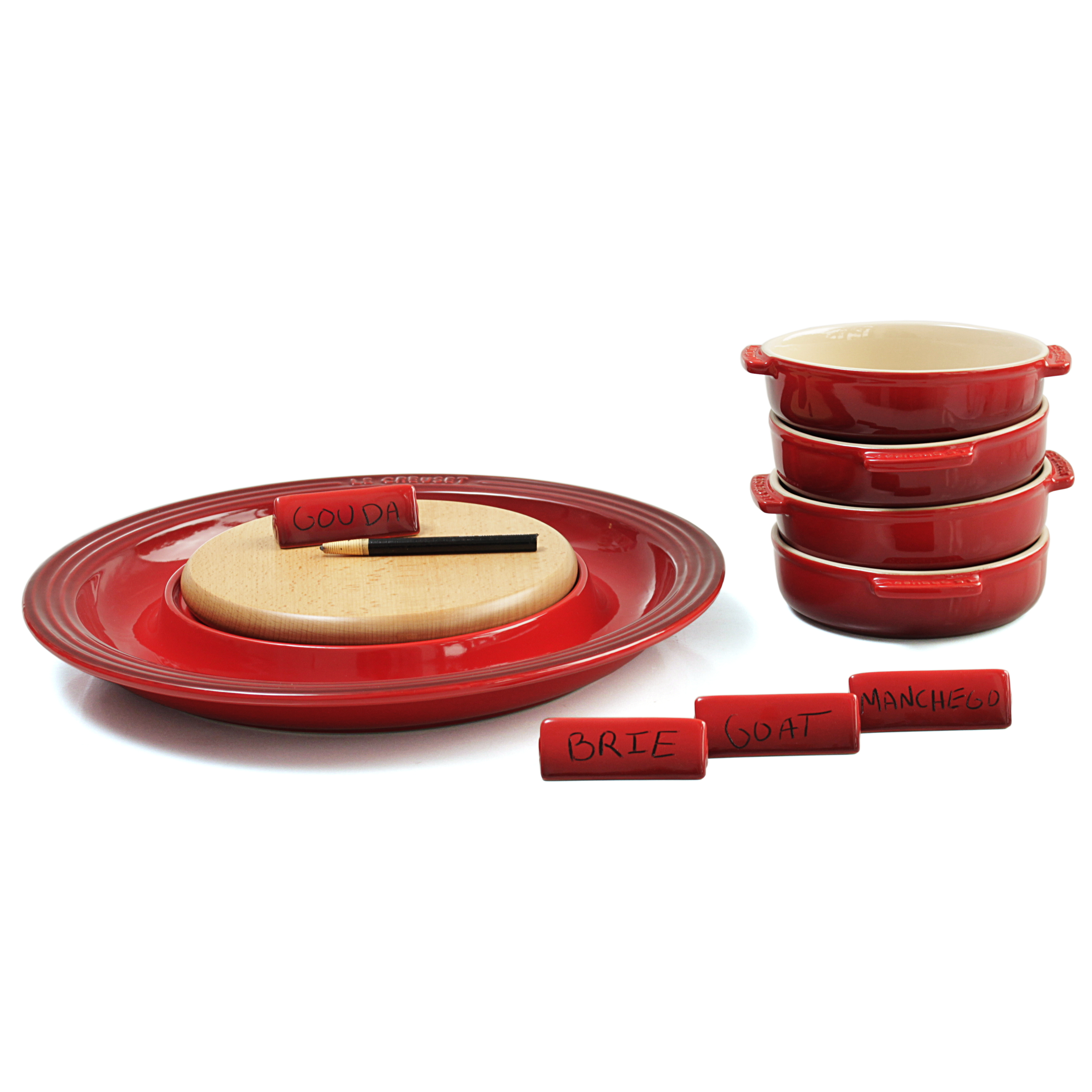 Le Creuset Cherry Stoneware Cheese Serving and 4 Piece Tapas Dish Set