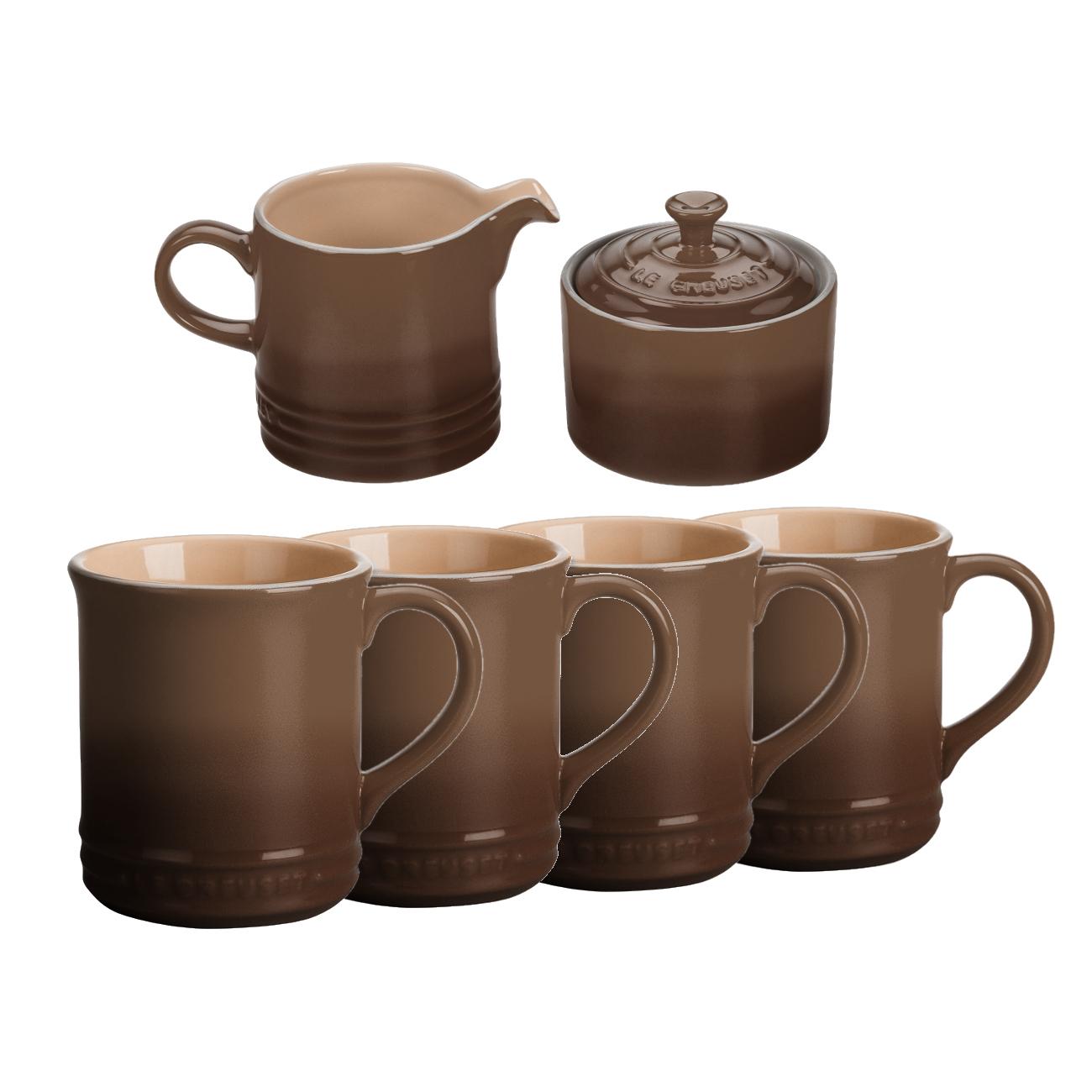 Le Creuset 6 Piece Truffle Stoneware Coffee or Tea Service Set With Mugs & Cream & Sugar Set