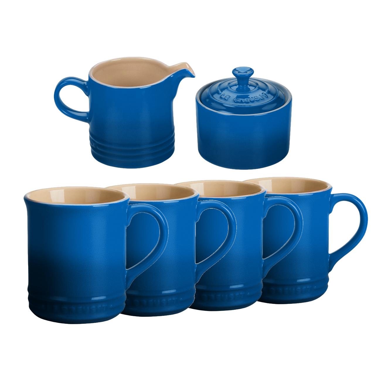 Le Creuset 6 Piece Marseille Blue Stoneware Coffee or Tea Service Set With Mugs & Cream & Sugar Set