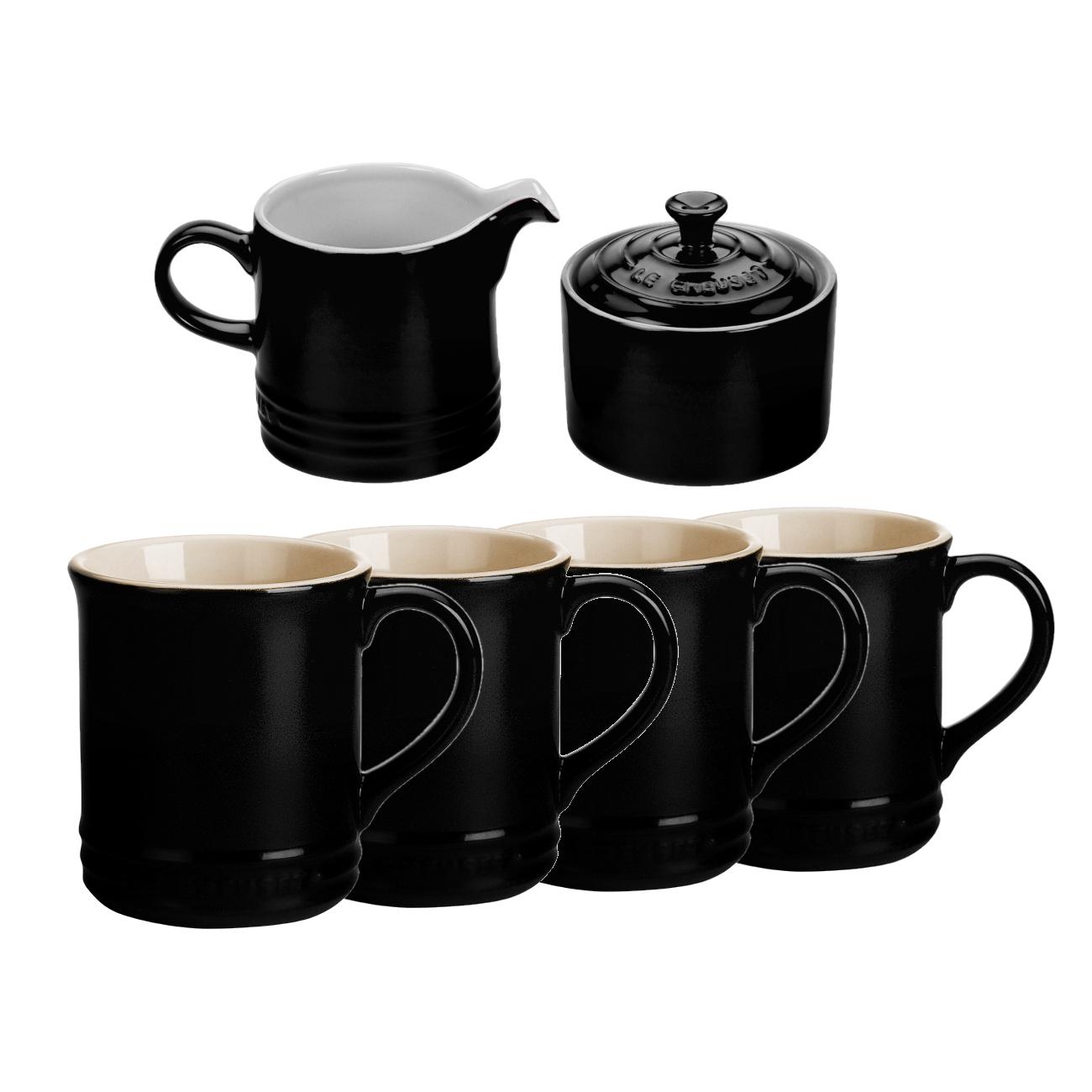 Le Creuset 6 Piece Black Onyx Stoneware Coffee or Tea Service Set With Mugs & Cream & Sugar Set