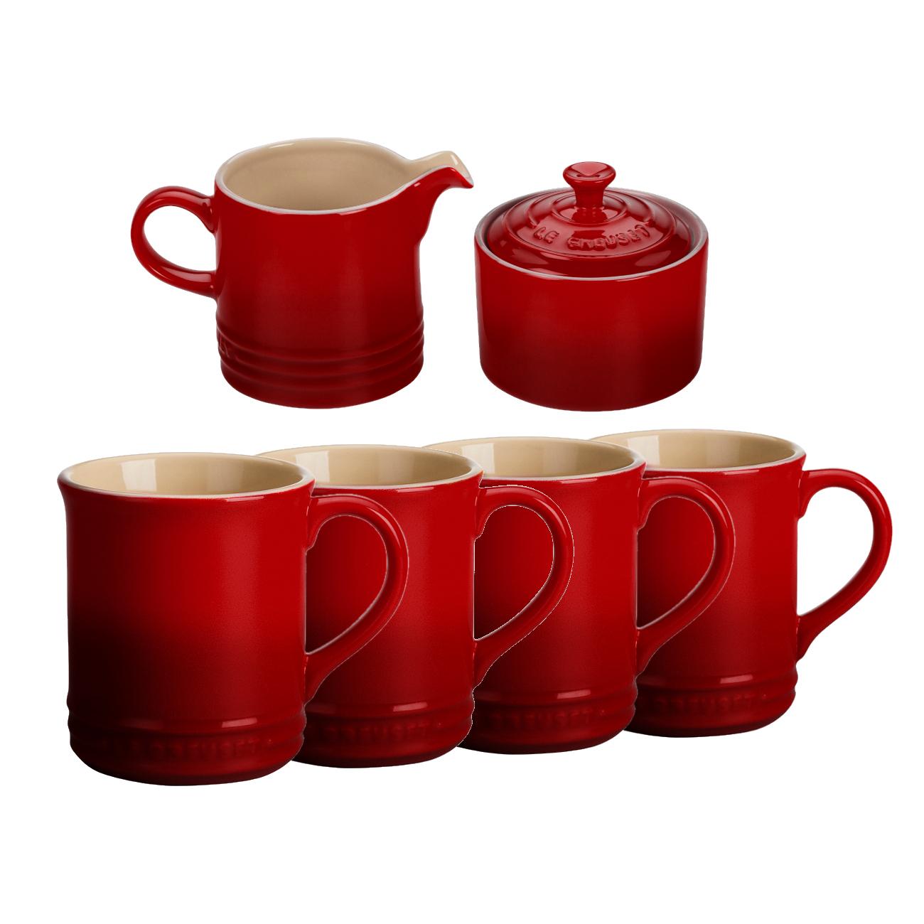 Le Creuset 6 Piece Cherry Stoneware Coffee or Tea Service Set With Mugs & Cream & Sugar Set