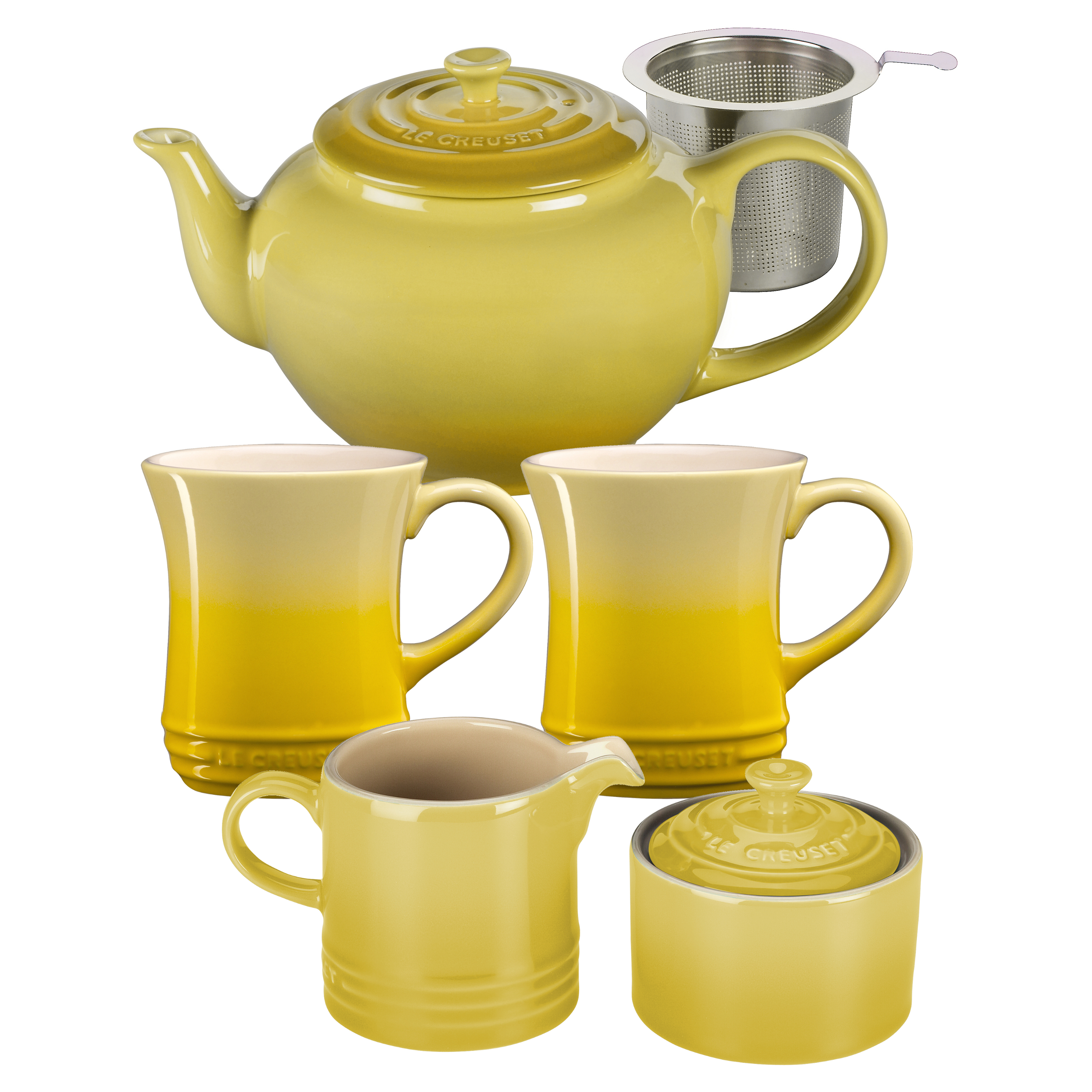 Le Creuset Soleil Yellow Stoneware 5 Piece Teapot Service Set with Mugs and Cream & Sugar Set