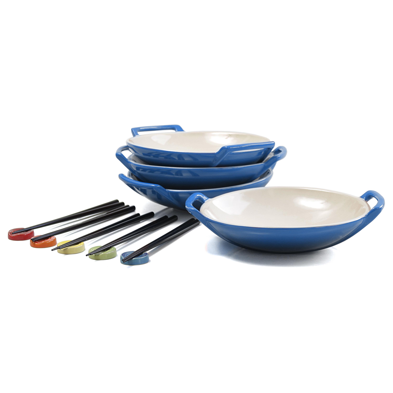 Le Creuset Marseille Blue Stoneware Wok Dish Set of 4 with Chopstick Rests and Chopsticks