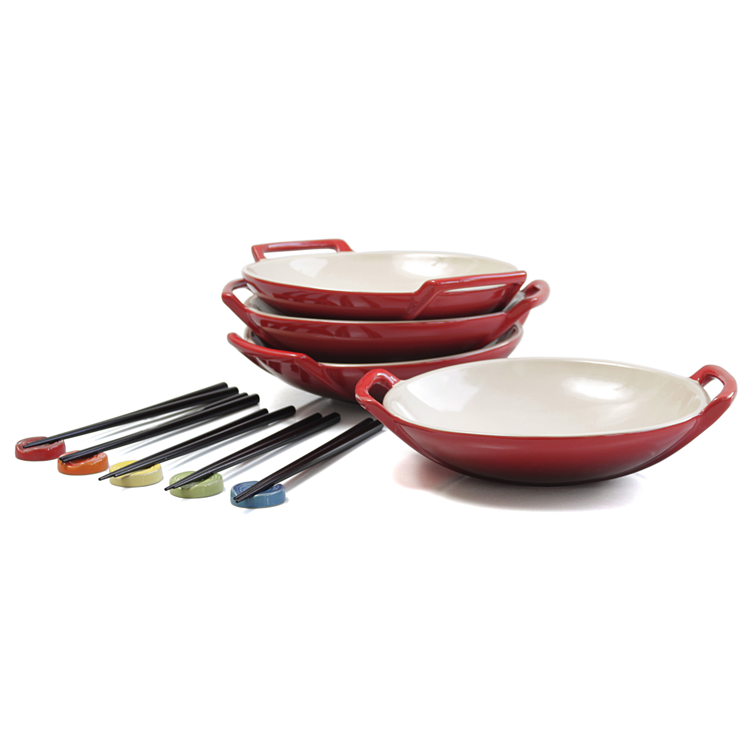 Le Creuset Cherry Stoneware Wok Dish Set of 4 with Chopstick Rests and Chopsticks