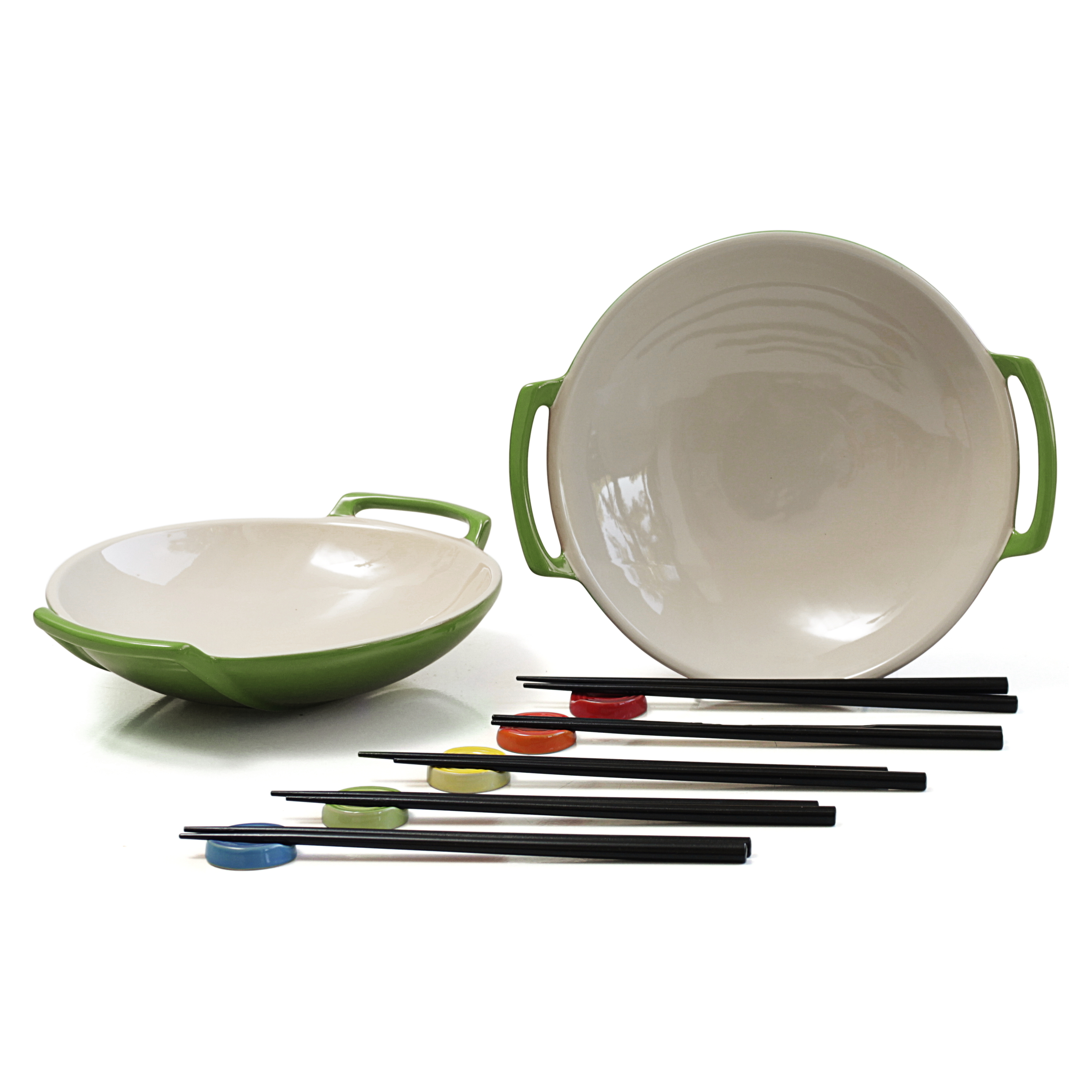 Le Creuset Palm Stoneware Wok Dish Set of 2 with Chopstick Rests and Chopsticks