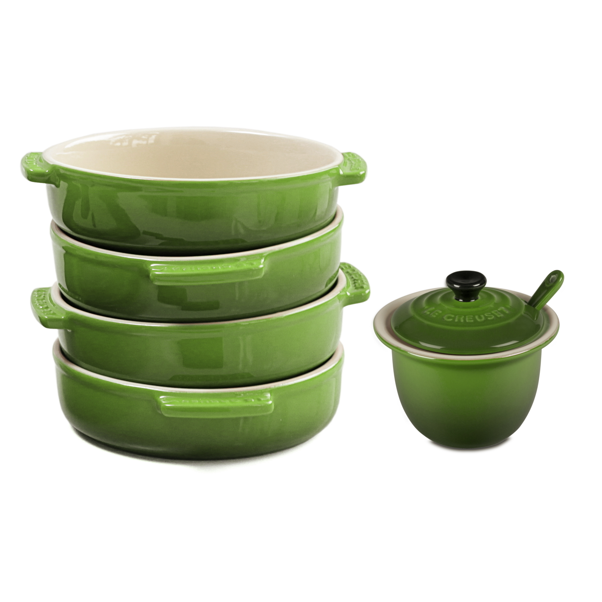 Le Creuset Palm Stoneware 17 Ounce Tapas Dish Set of 4 with Matching Stoneware 4 Ounce Condiment Pot