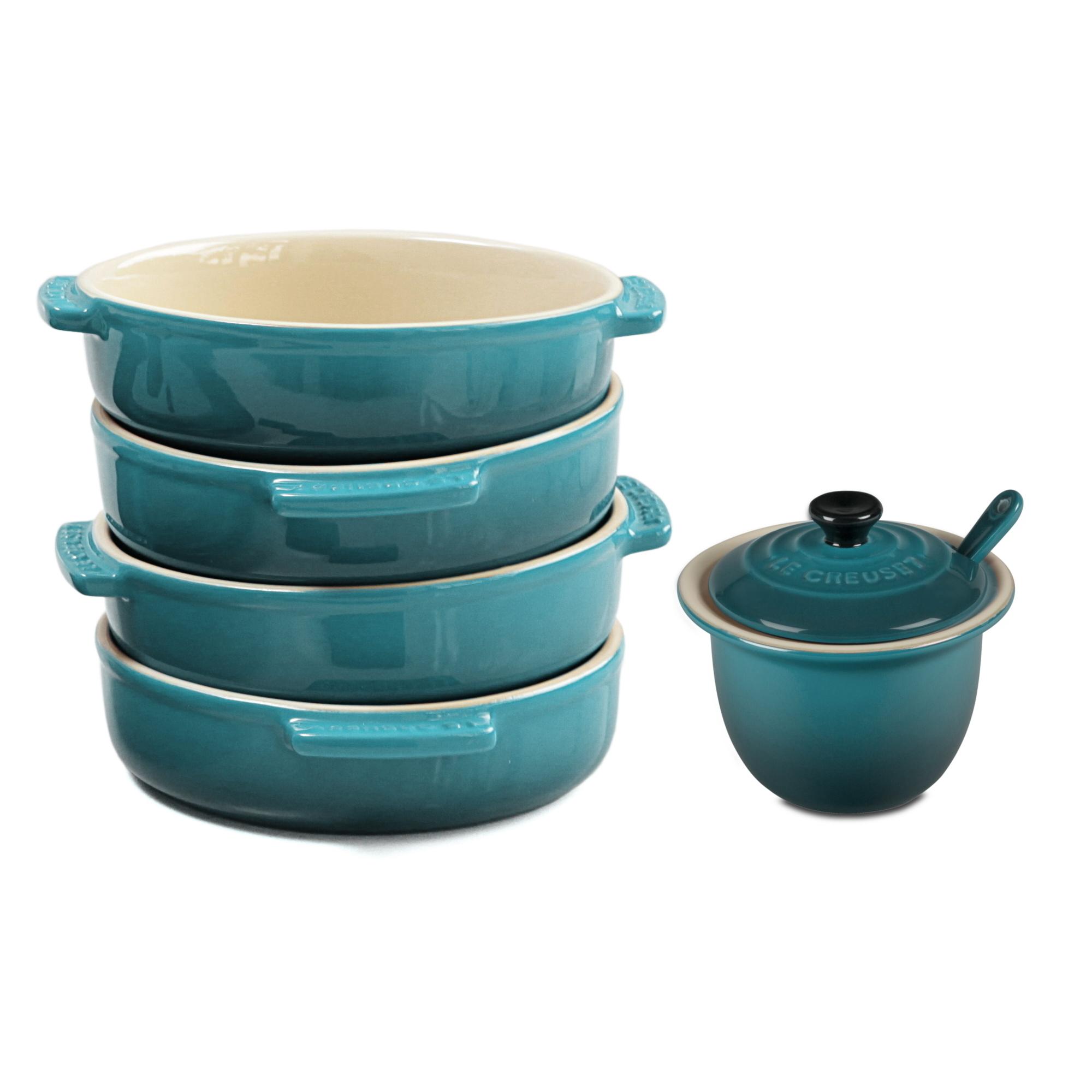 Le Creuset Caribbean Stoneware 4 Piece Tapas Dish Set with Condiment Pot