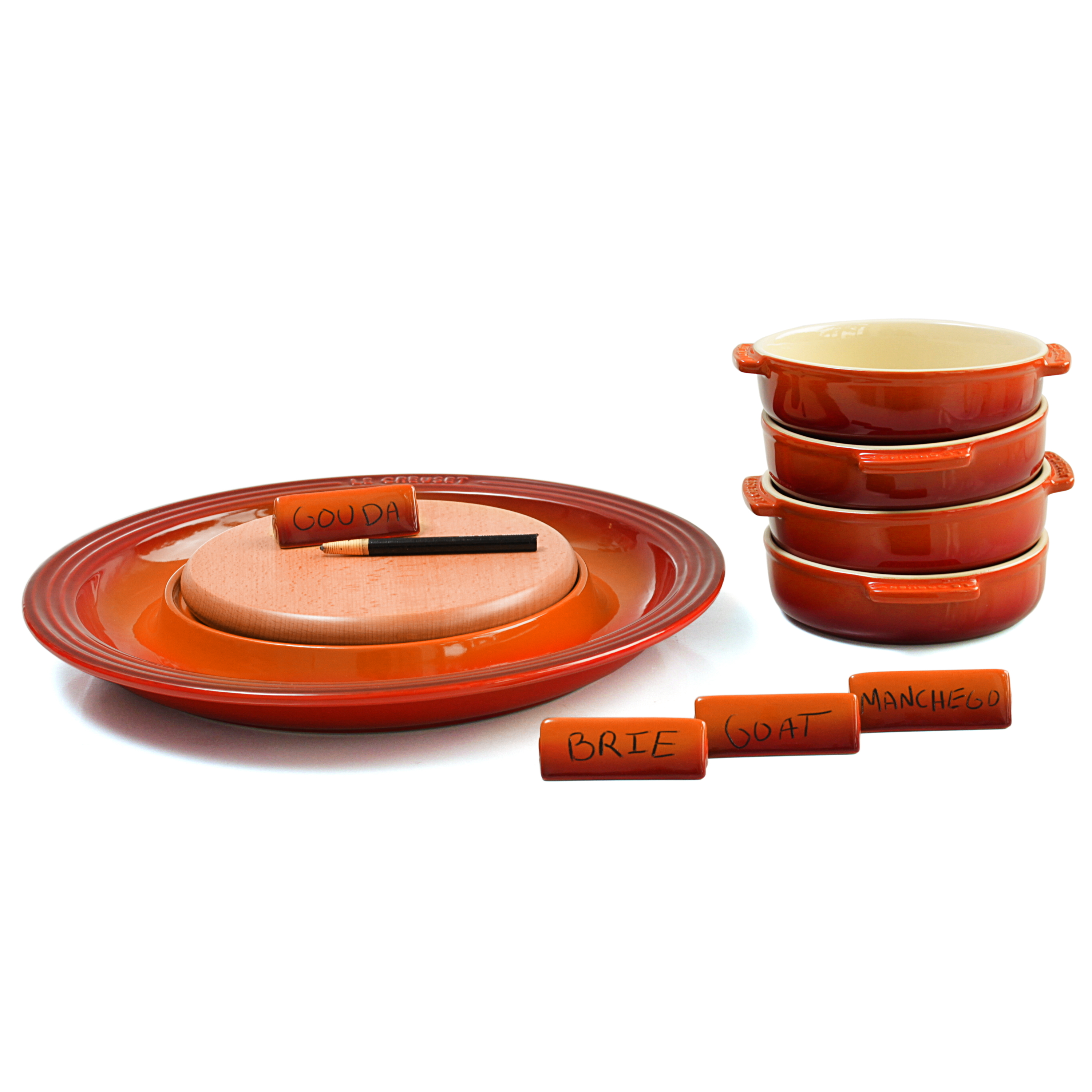 Le Creuset Flame Stoneware Cheese Serving and 4 Piece Tapas Dish Set