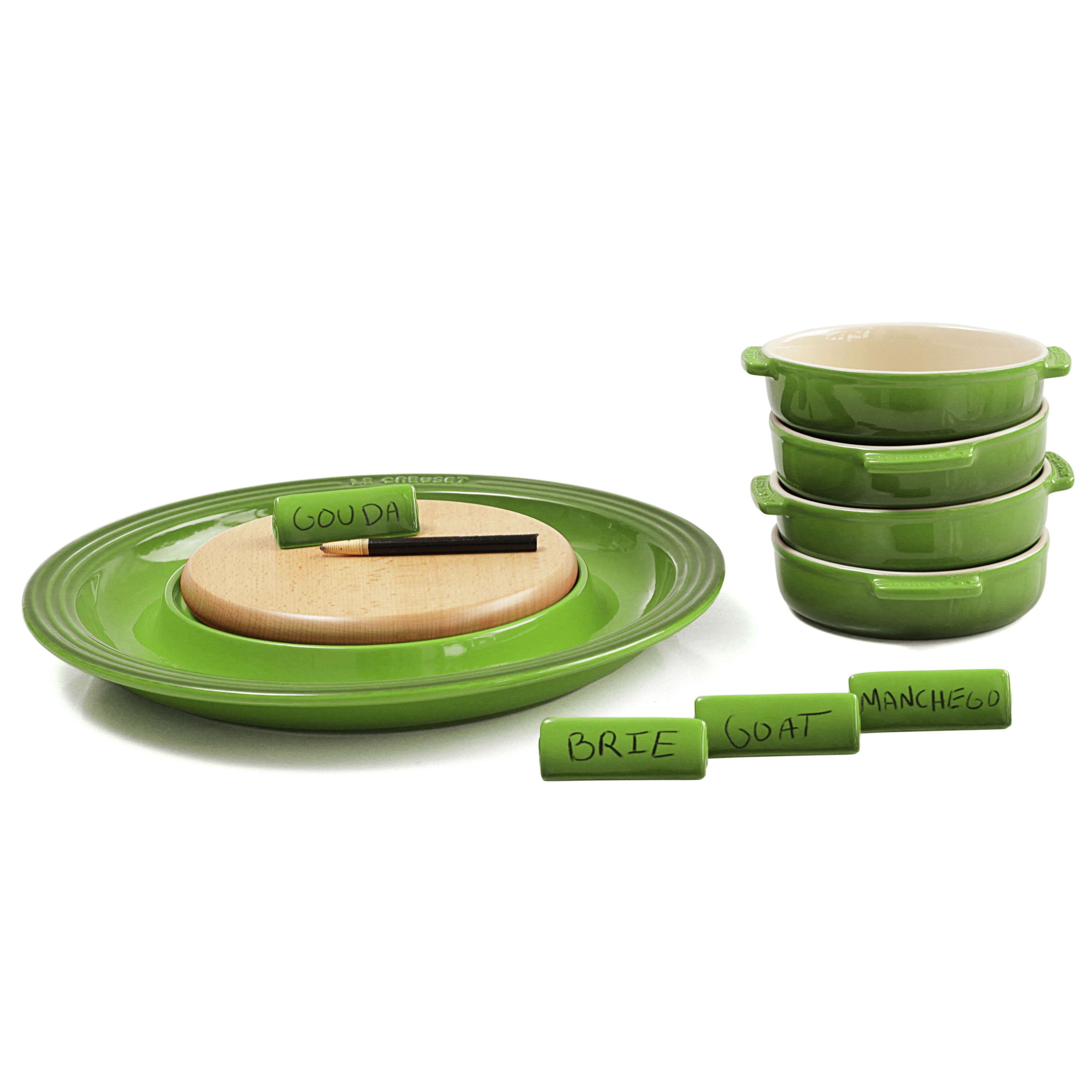 Le Creuset Palm Stoneware Cheese Serving and 4 Piece Tapas Dish Set