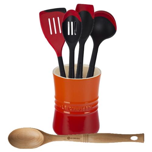 Le Creuset Flame Stoneware 1 Quart Utensil Crock with Revolution Cherry and Beechwood Utensil Set