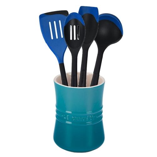 Le Creuset Caribbean Stoneware 1 Quart Utensil Crock with Revolution Marseille Blue Utensil Set
