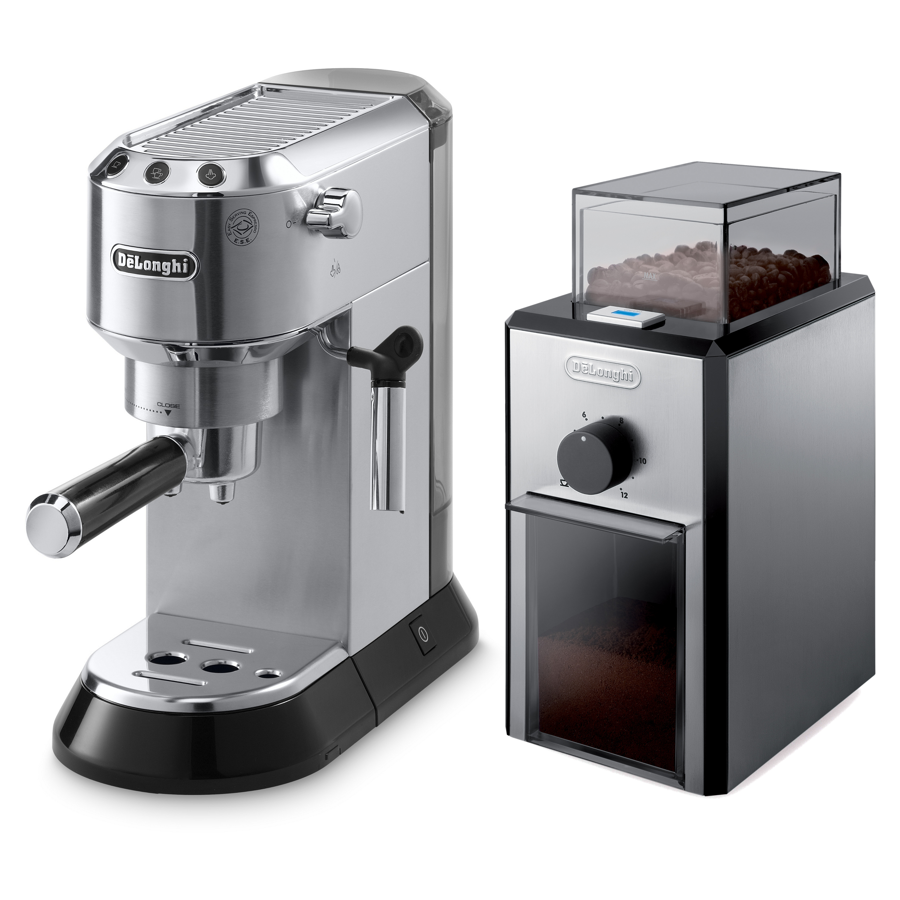 Delonghi Dedica Black Stainless Steel Pump Espresso and Cappuccino Maker with Electric Conical Burr Grinder