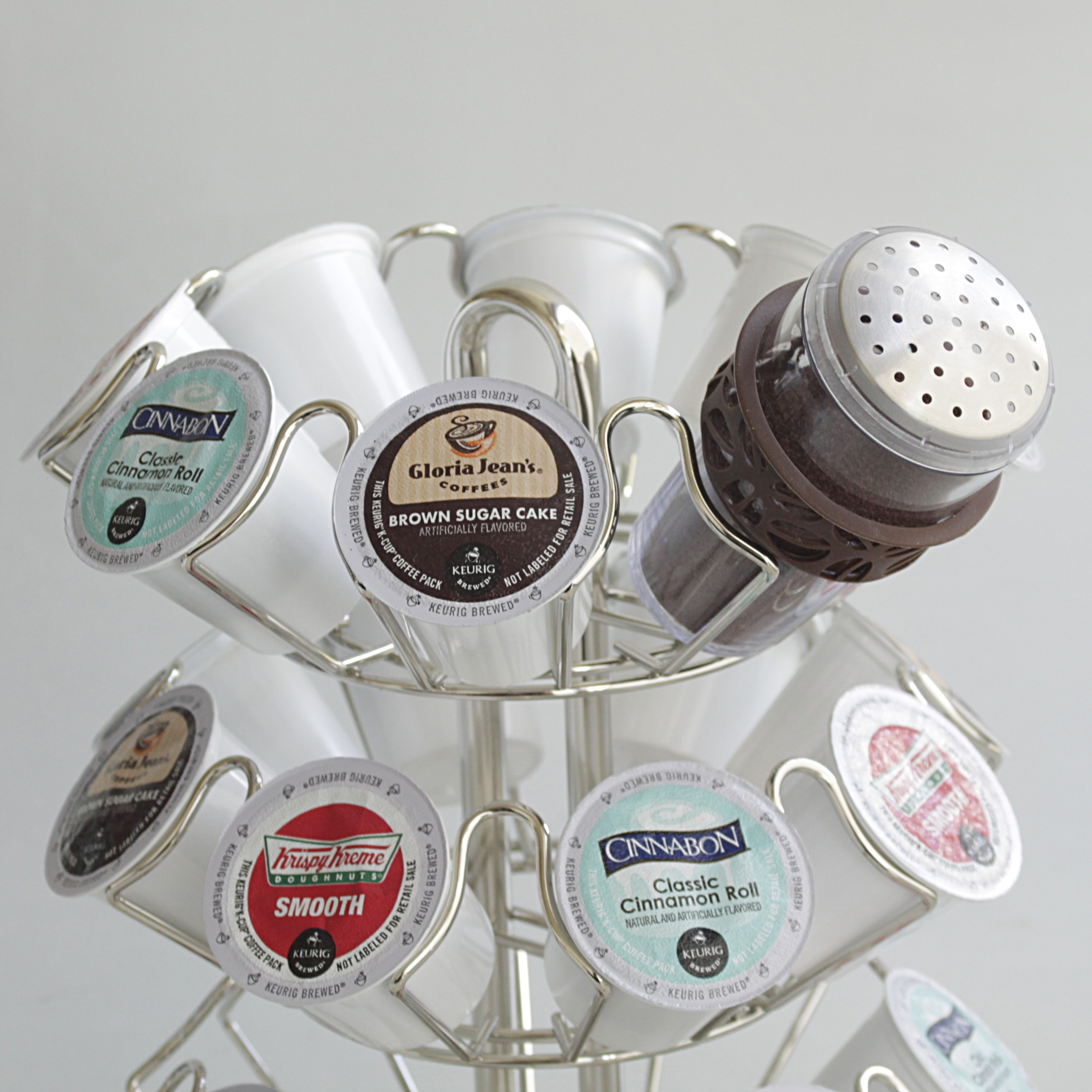 Keurig 2.0 Silver Finish 24 Pod Carousel with Brown 8 Ounce Cocoa Powder Shaker