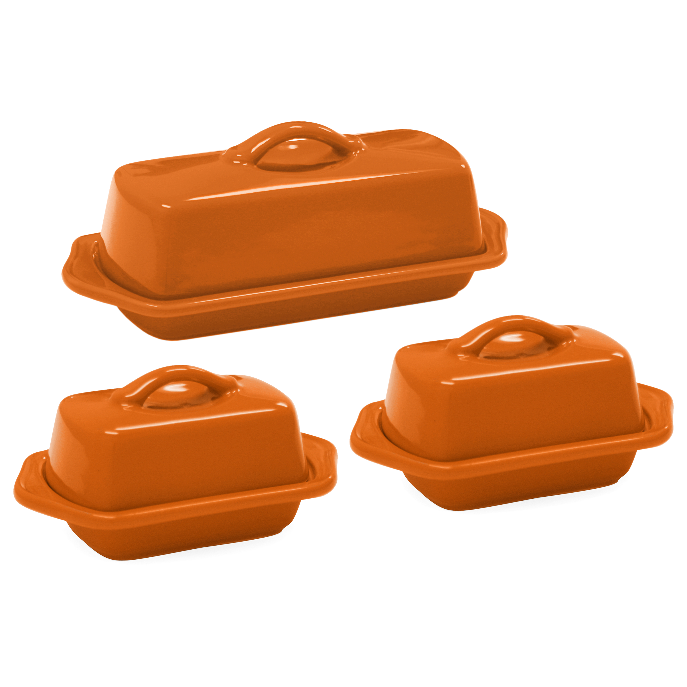 Chantal Orange Stoneware 3 Piece Traditional and Mini Butter Dish Set