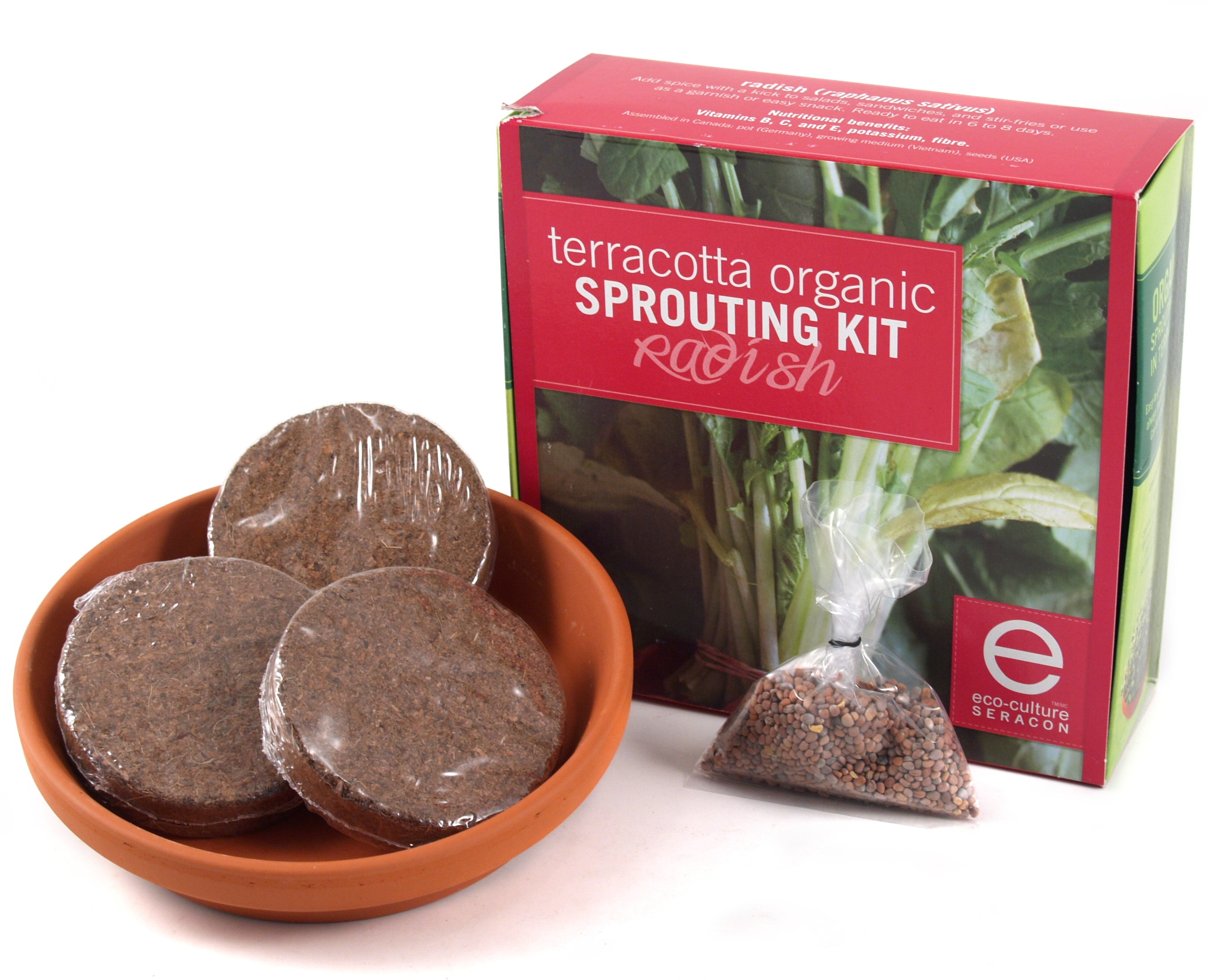 Eco-Culture Terracotta Organic Radish Sprouting Kit