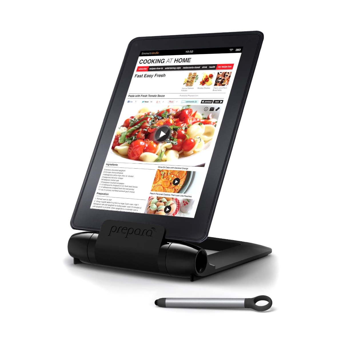 Prepara iPrep Black Adjustable Tablet Stand with Stylus