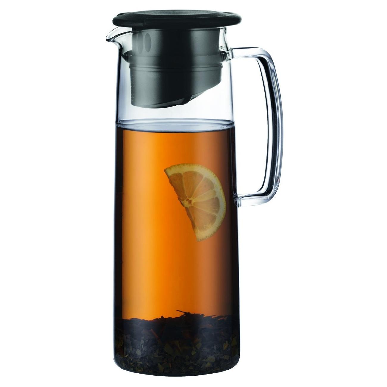 Bodum Biasca Glass 40 Ounce Black Ice Green Tea Jug with Black Lid