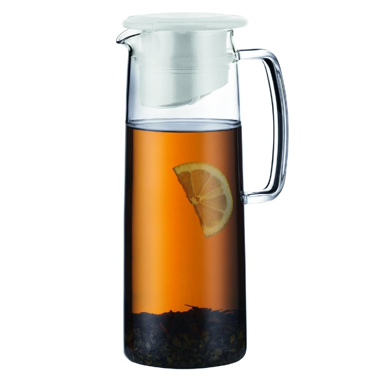 Bodum Biasca Glass 40 Ounce Ice Green Tea Jug with White Lid