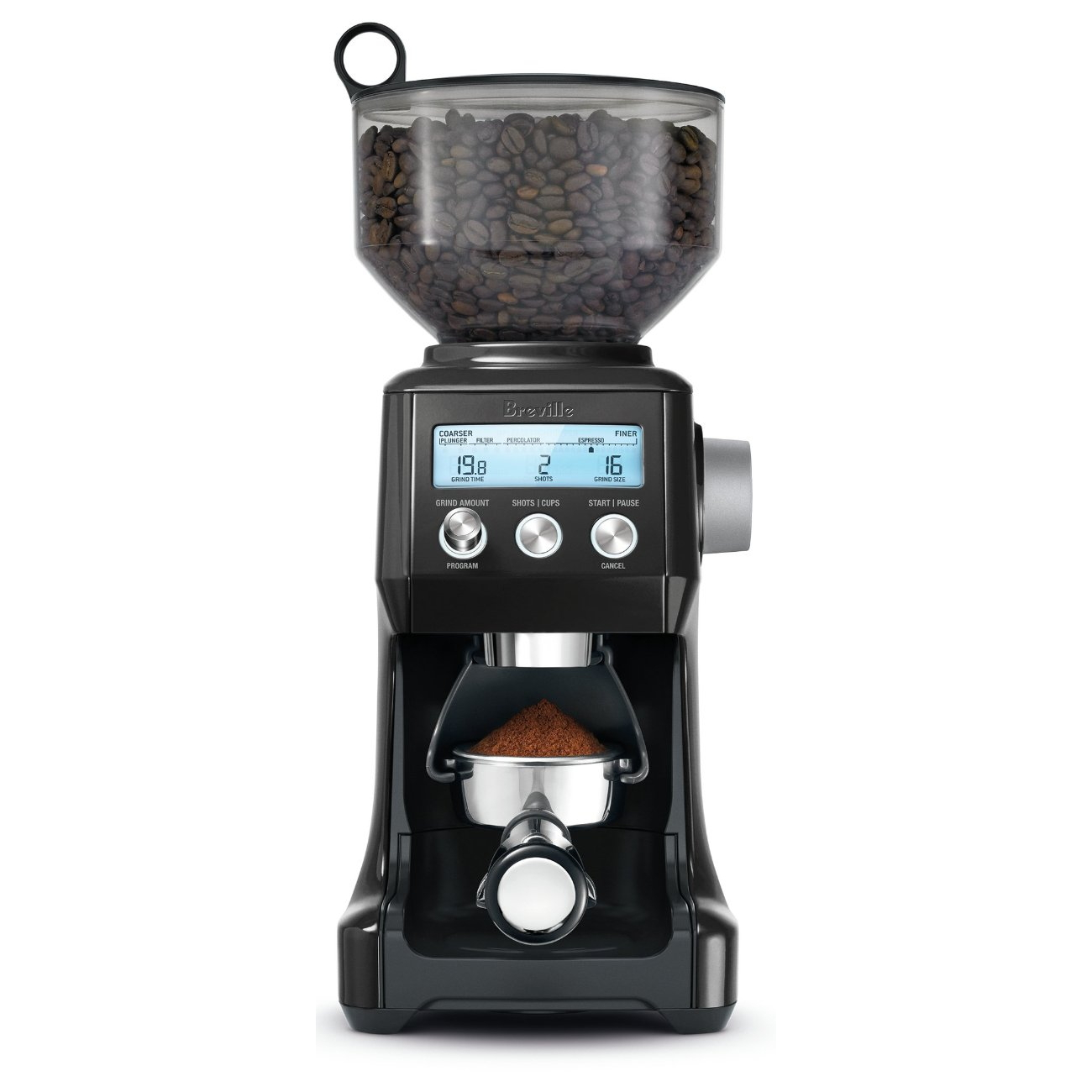 Breville Smart Grinder Pro Black Sesame Die-Cast Metal Conical Burr Coffee Grinder