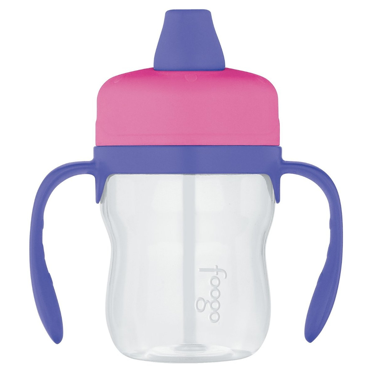 Thermos Foogo Pink with Purple Accents Eastman Tritan Soft Spout 8 Ounce Sippy Cup with Handles